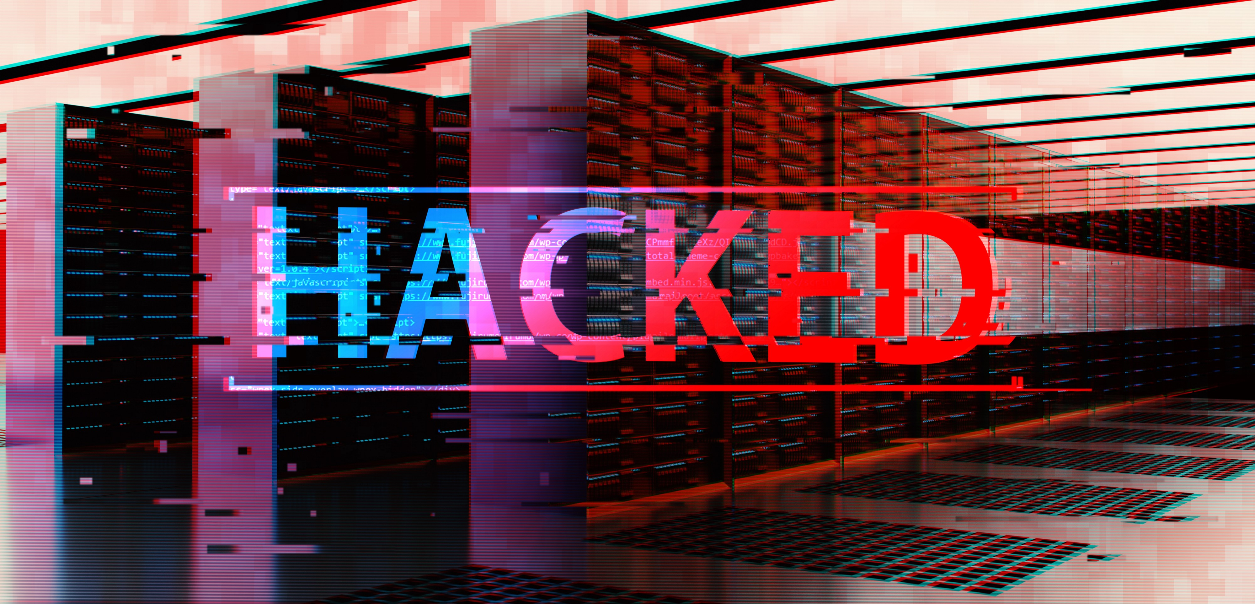 Server room with text HACKED