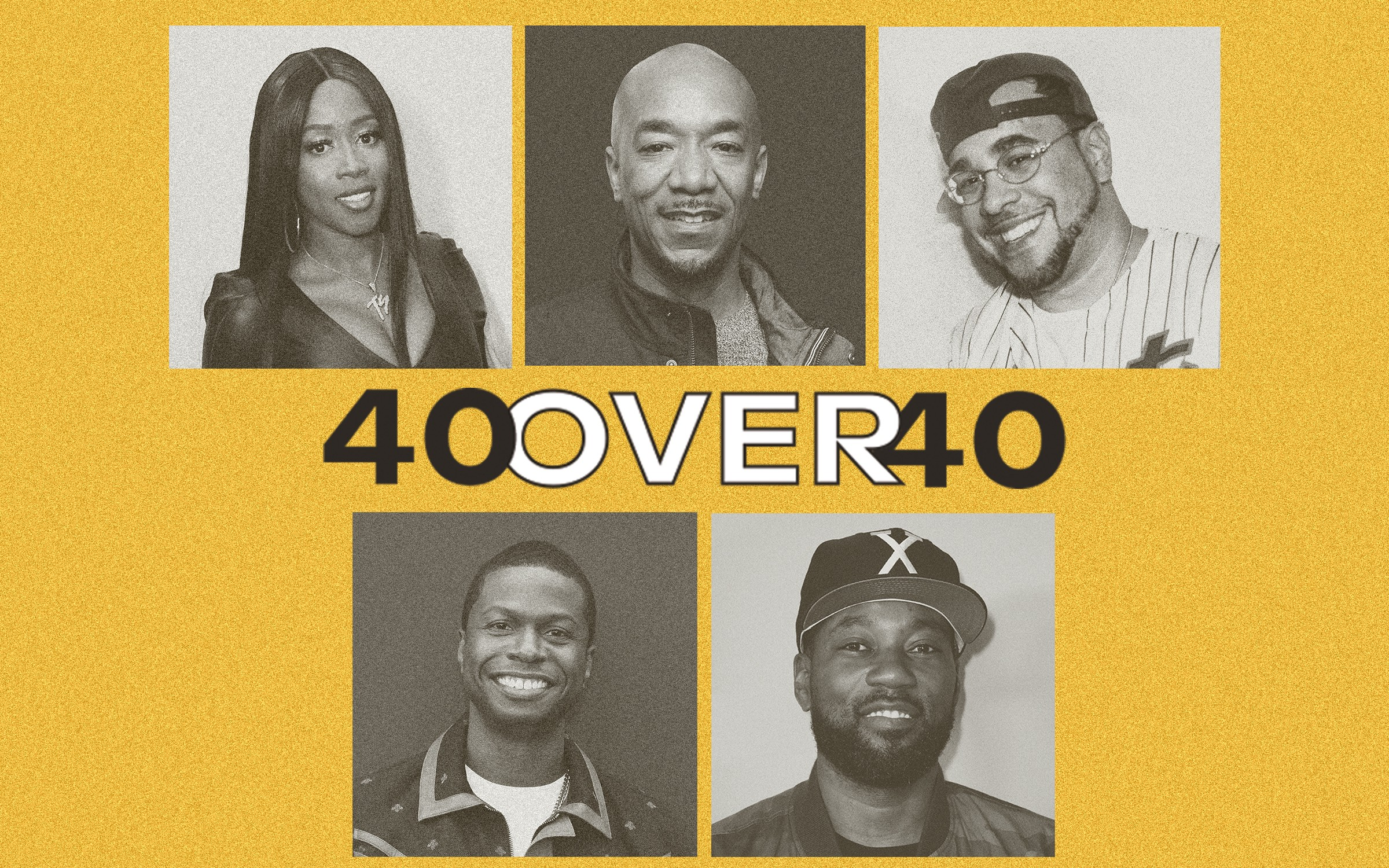 """A photo grid of Remy Ma, Datwon Thomas, Rob Markman, and Carl Chery with the title """"40 Over 40""""."""