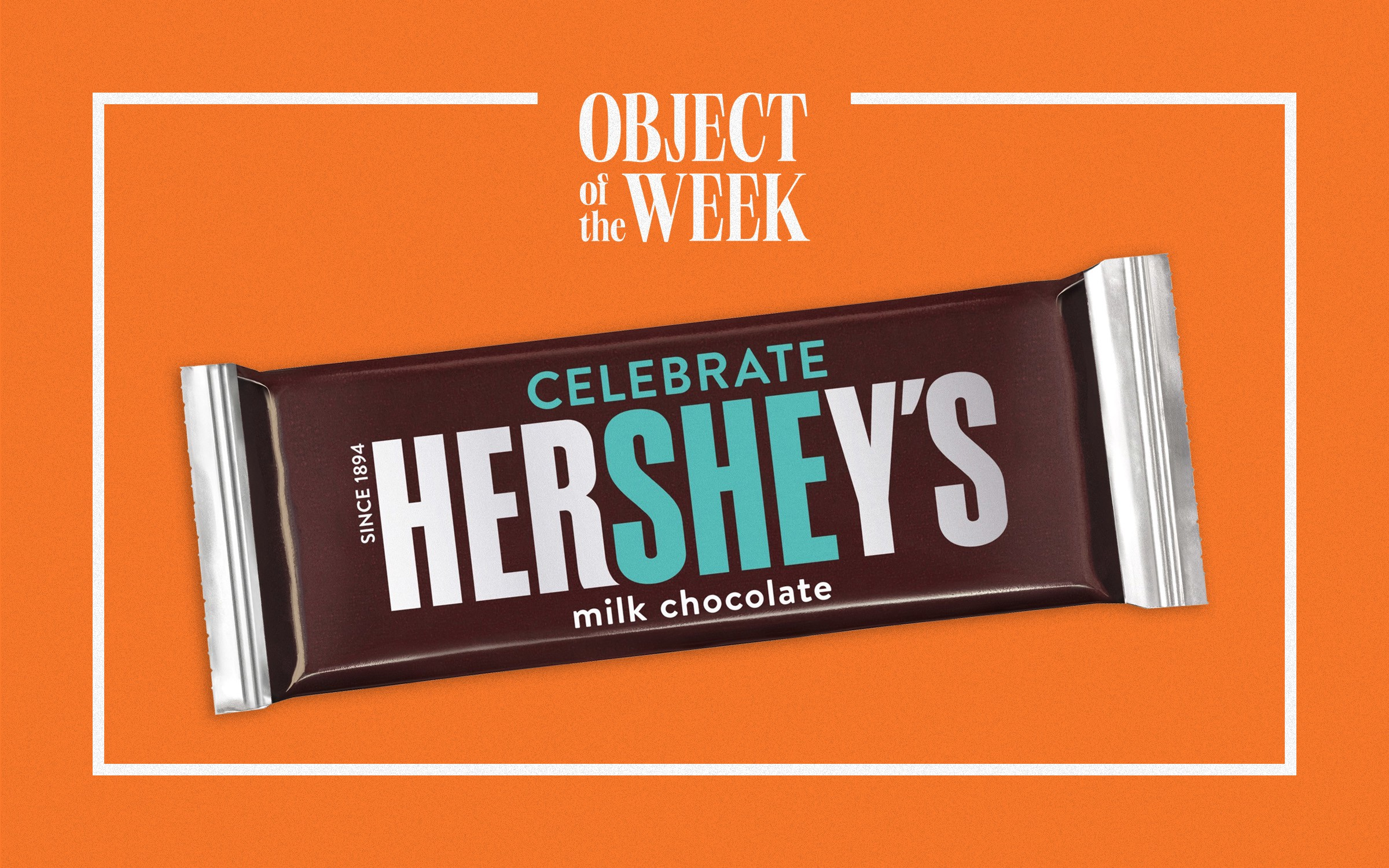 "A Hershey's chocolate bar with packaging designed specifically for International Women's Day, with the letters ""SHE"" highlighted. Above the Hershey's logo, there is the addition of the word ""Celebrate,"" so that in its whole it reads: ""CELEBRATE HerSHEy's."""