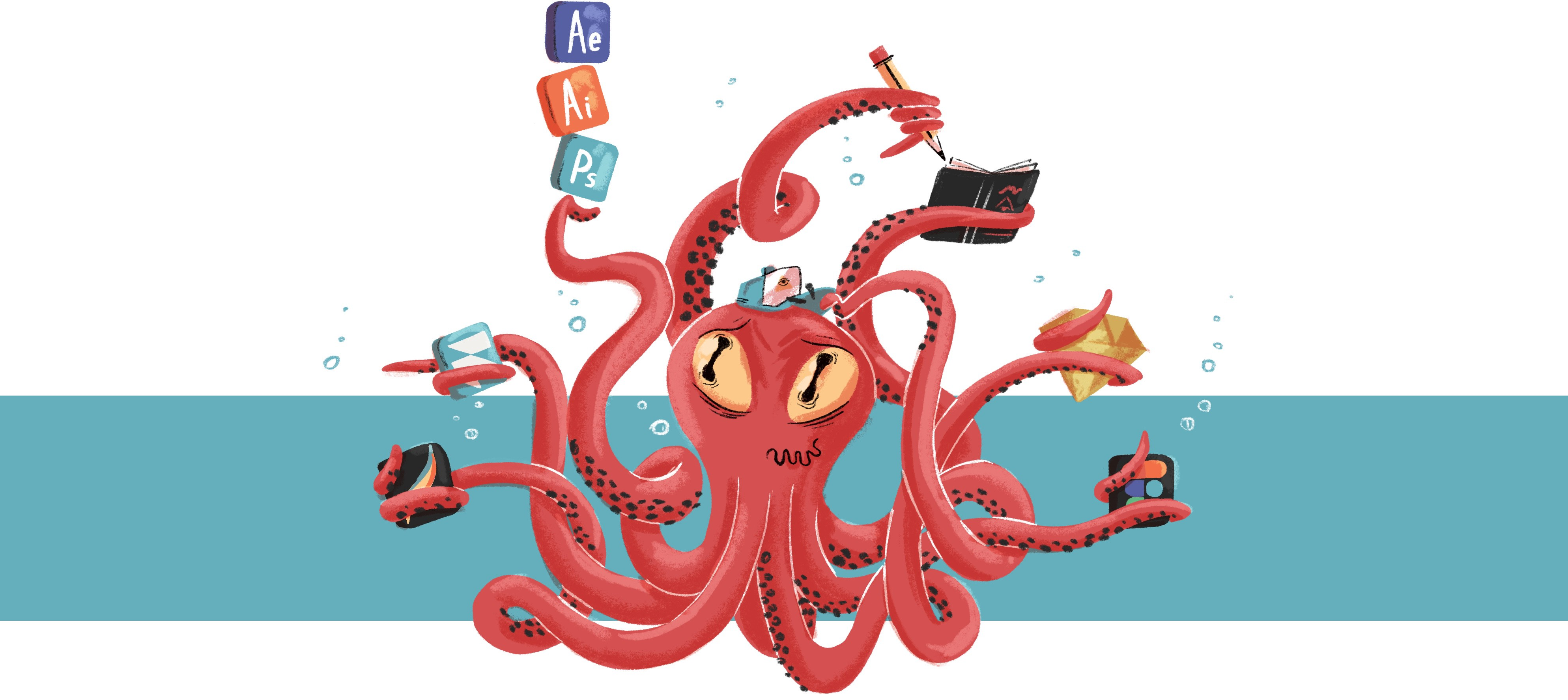 An octopus juggling several icons of design tools and drawing on a sketchbook with its tentacles.
