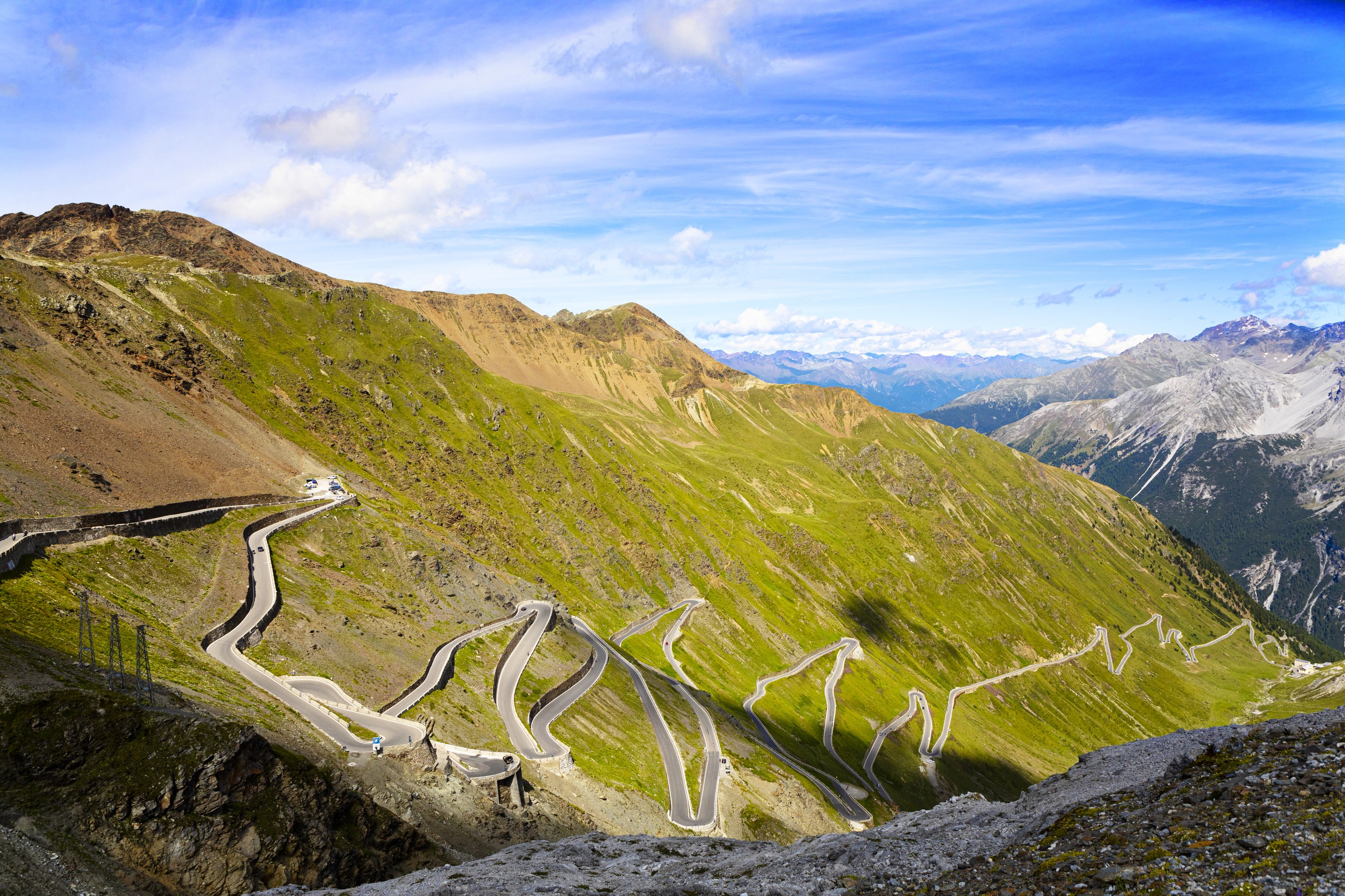 The Stelvio pass in Italy—a winding road through the Dolomites