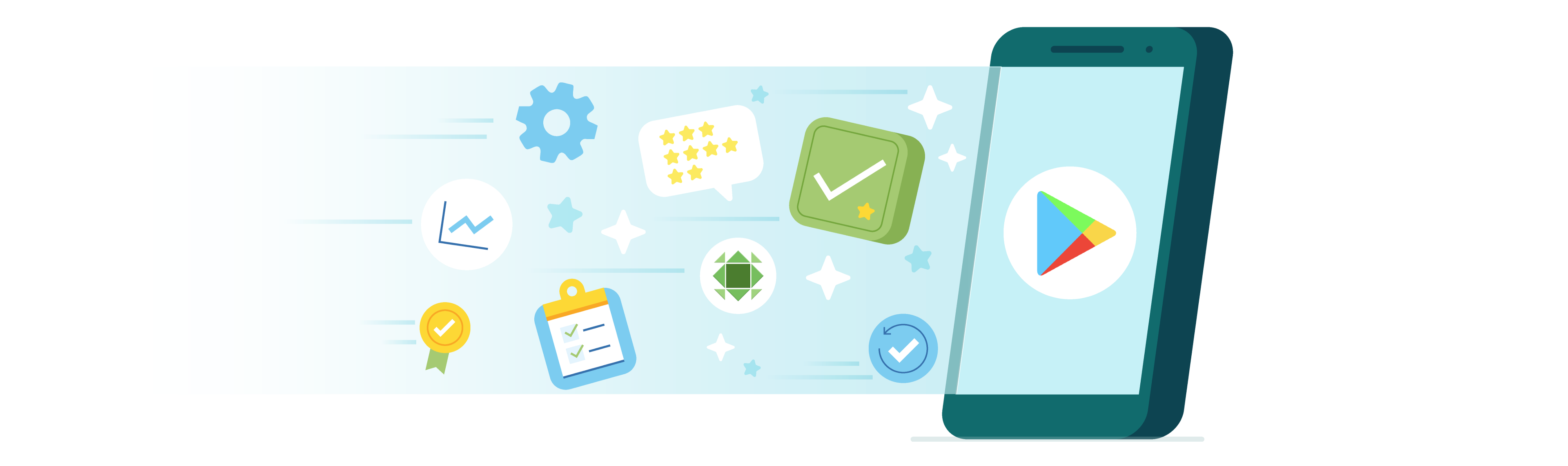 Cell phone with Google Play next to productivity icons