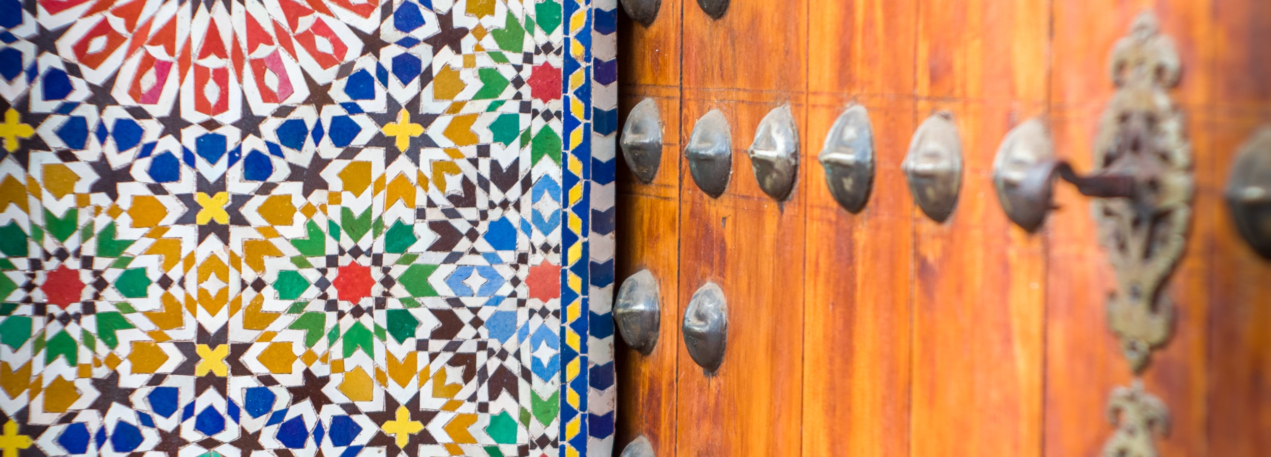 Colorful mosaic at a door in Marrakech.