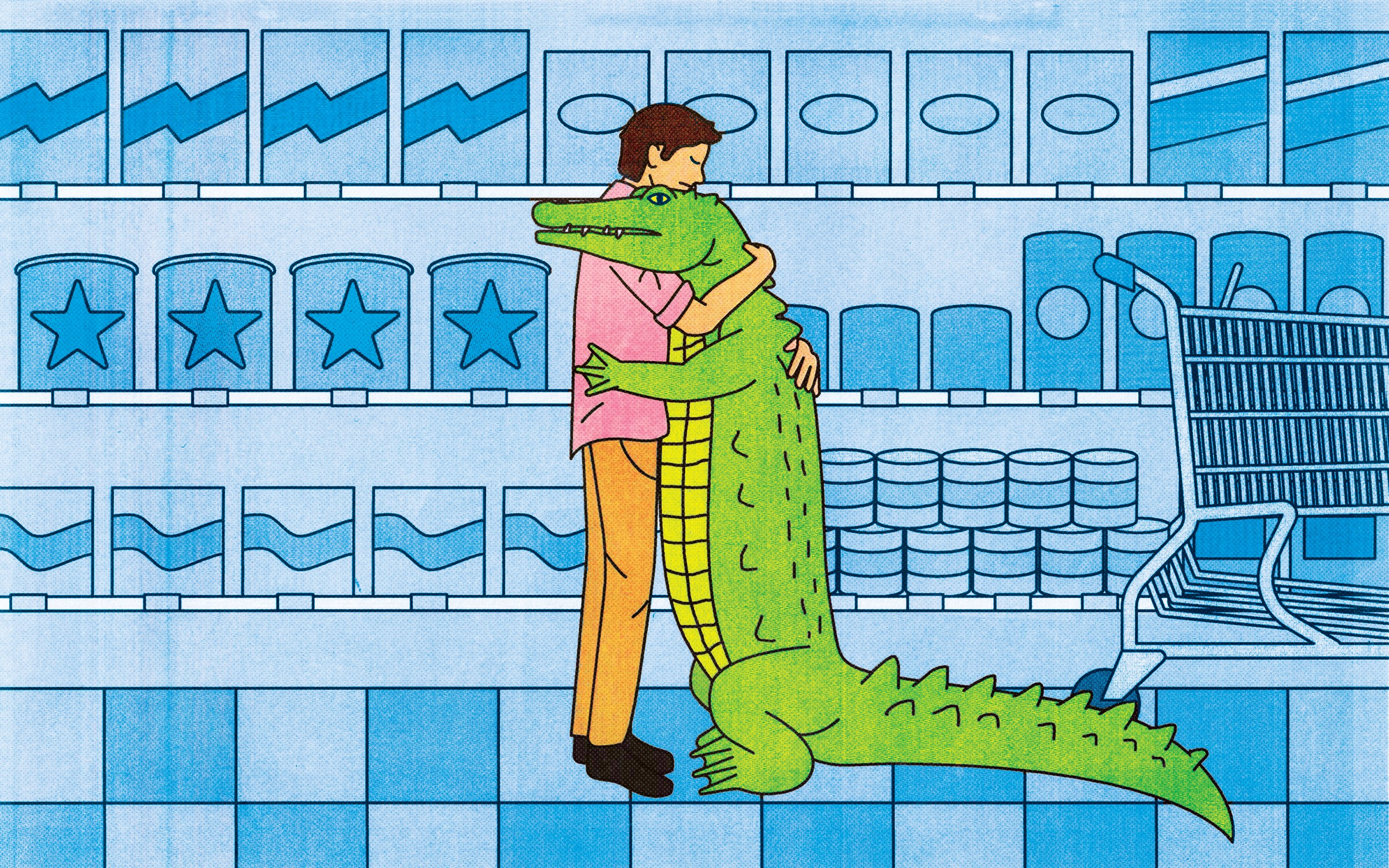 An illustration of a man hugging an alligator in a supermarket aisle.
