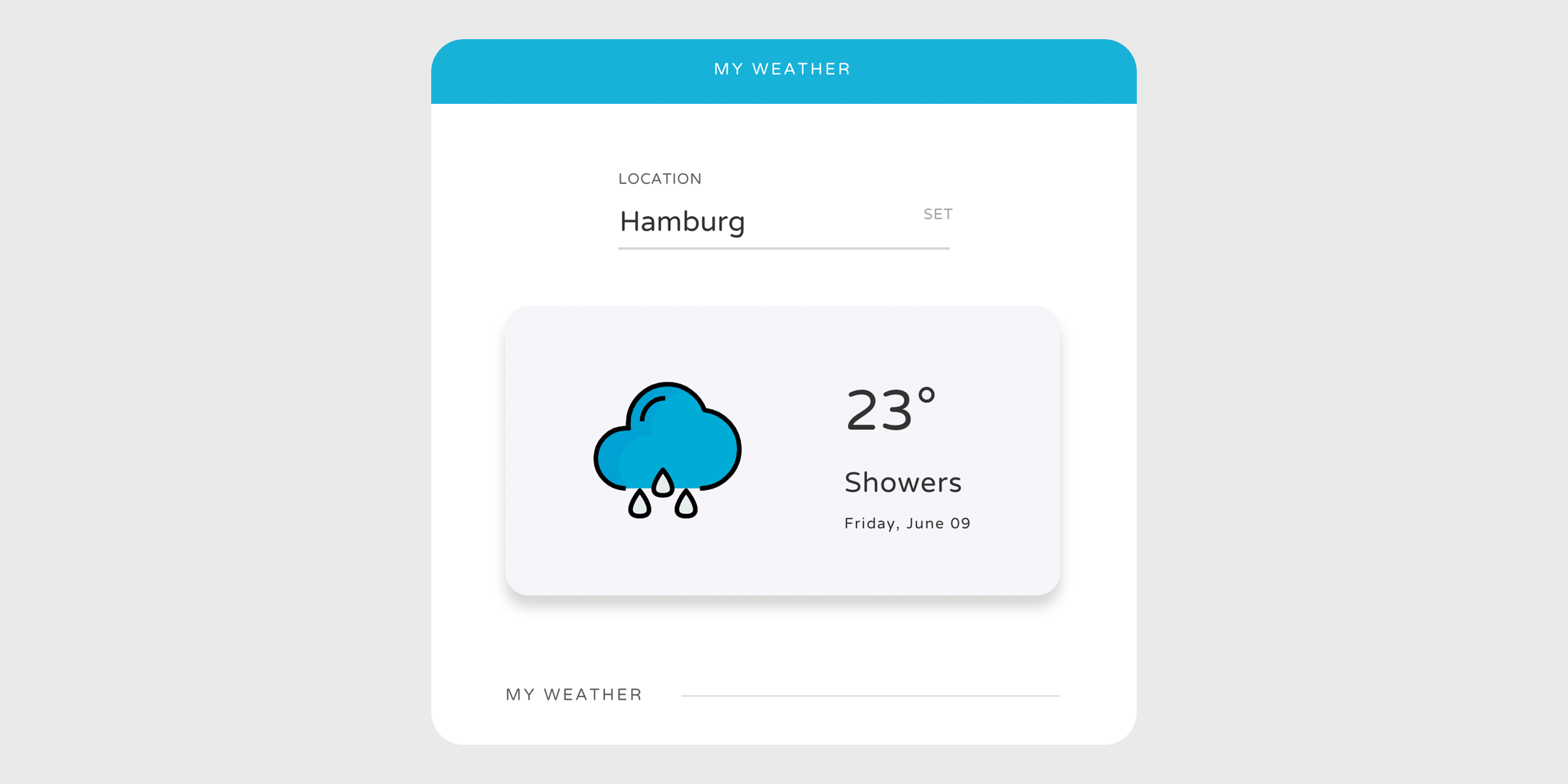 Screenshot — static version of our frontend for the weather app
