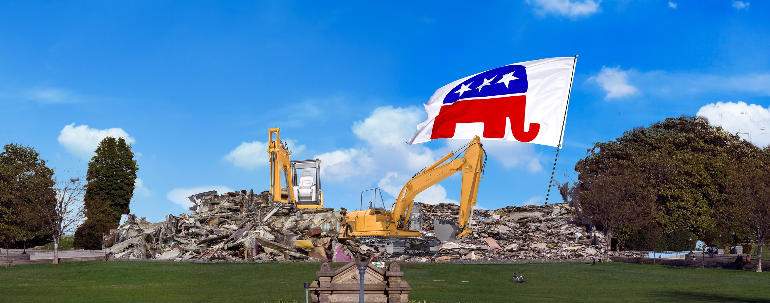 Excavator clears away rubble of the US Capitol