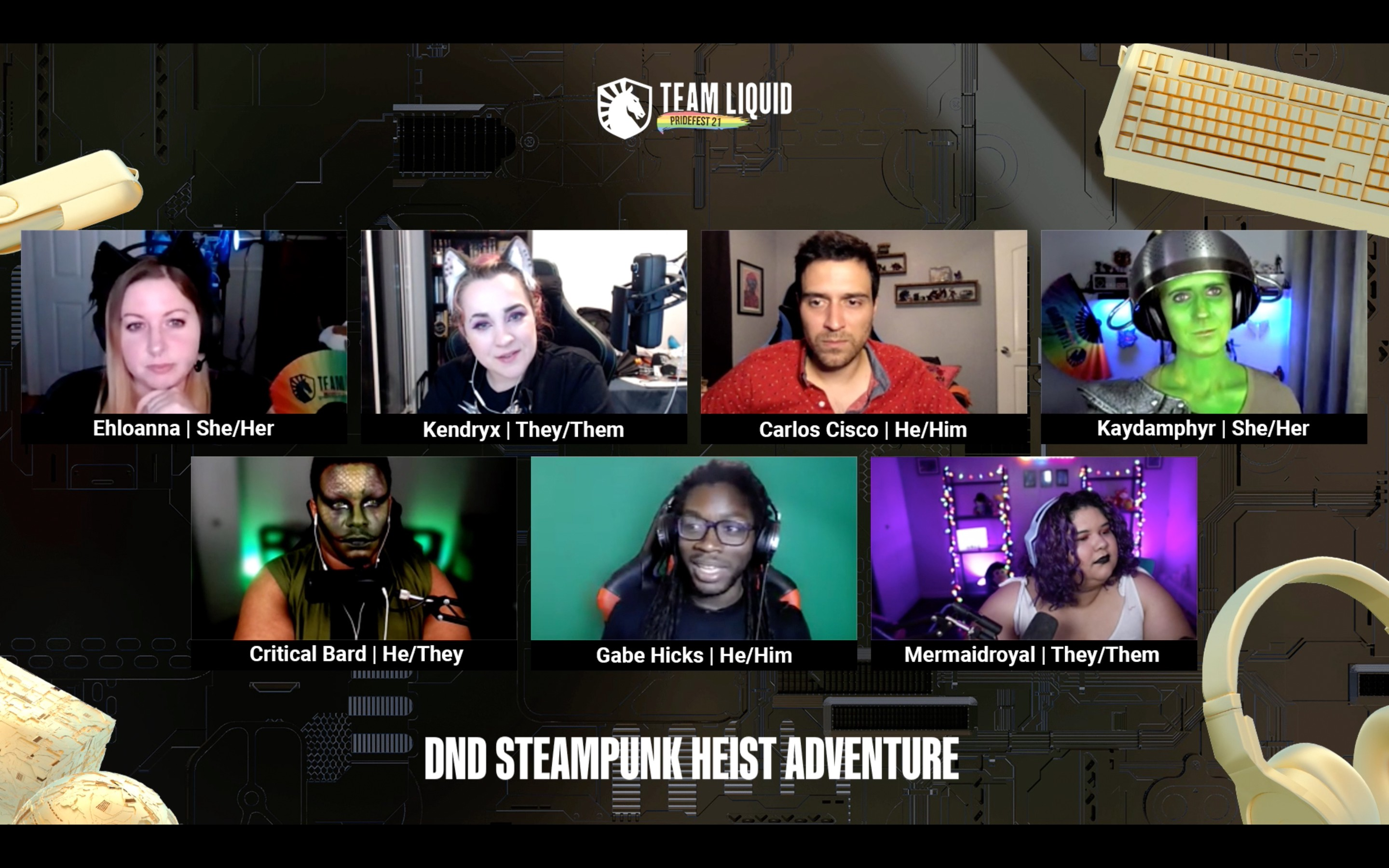 Cast of DND Steampunk Height Adventure on Twitch