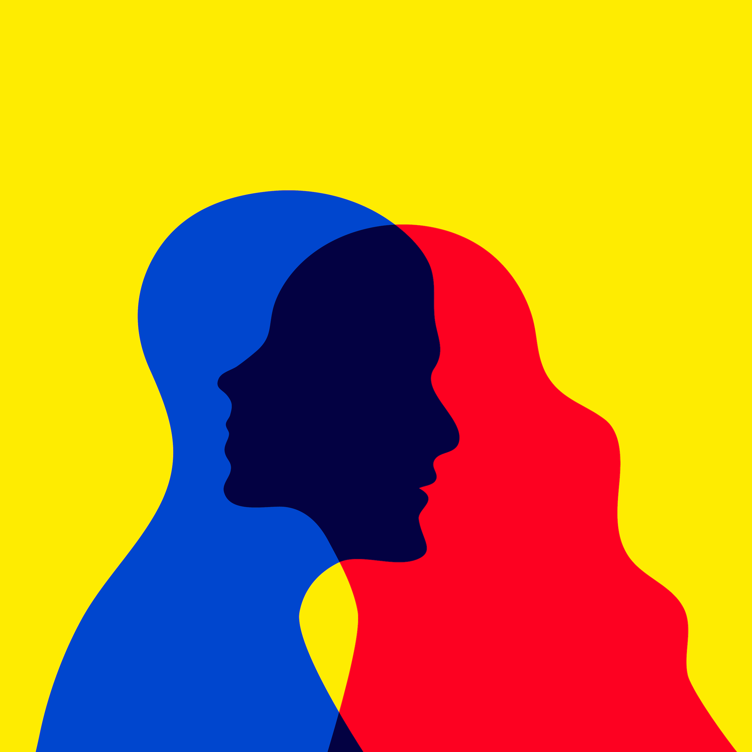 A blue silhouette of a bald person overlapping a red silhouette of a long-haired person, all on a yellow background.