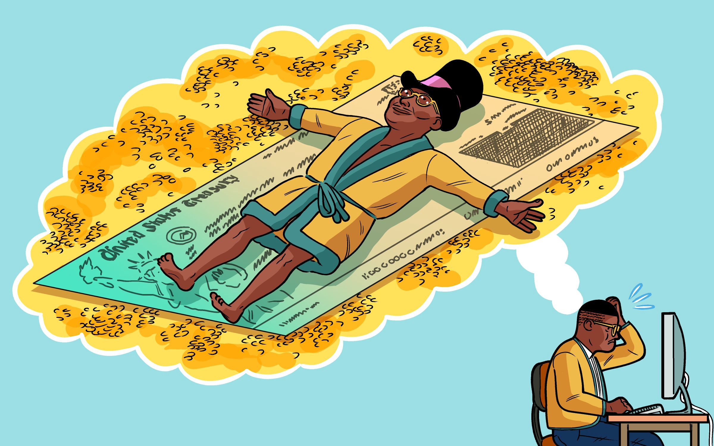 Illustration of a man working at a computer daydreaming of being a rich man lying on a big check.