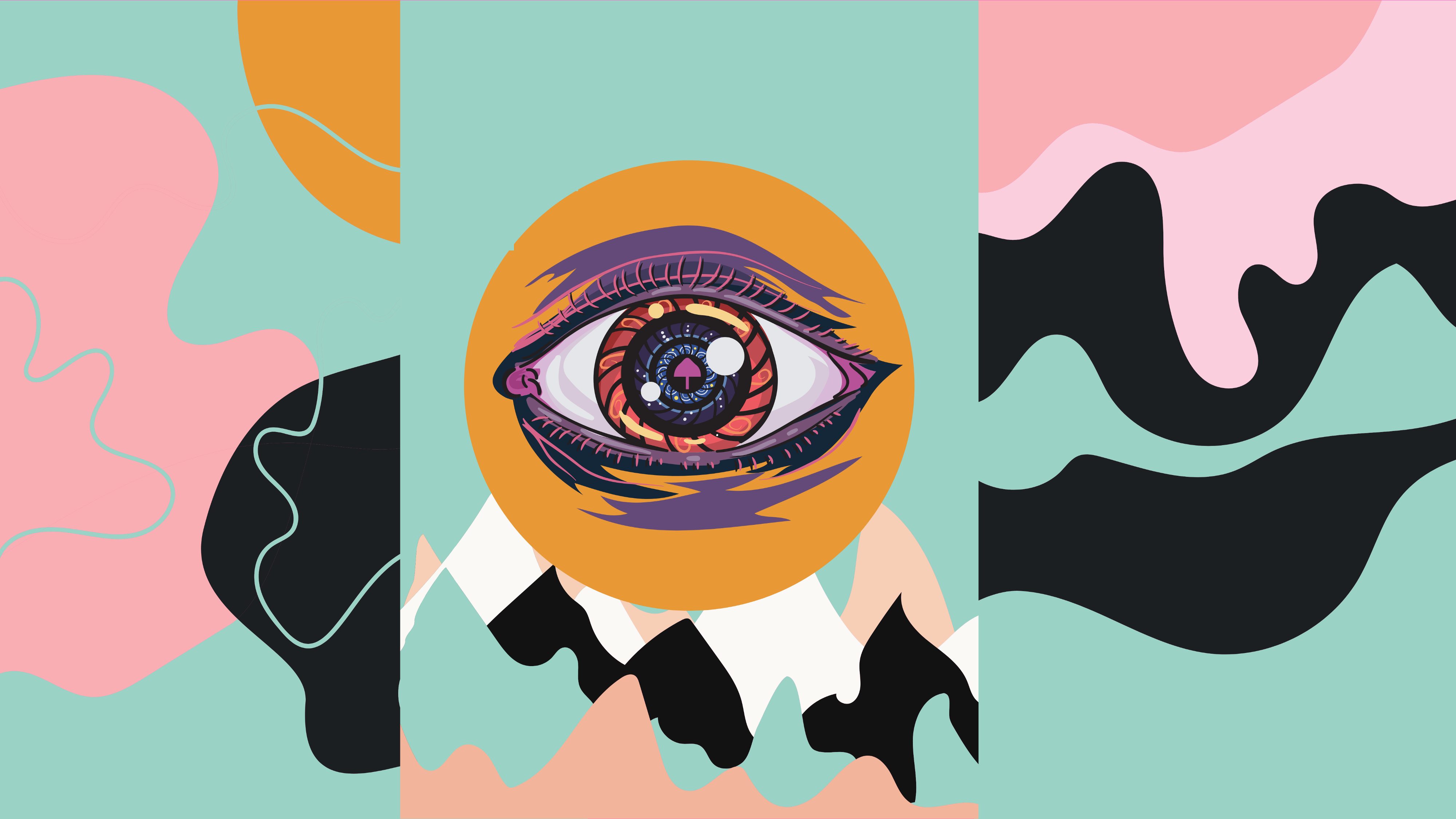 A psychedelics purple eye with a mushroom in the middle, on a colorful background.