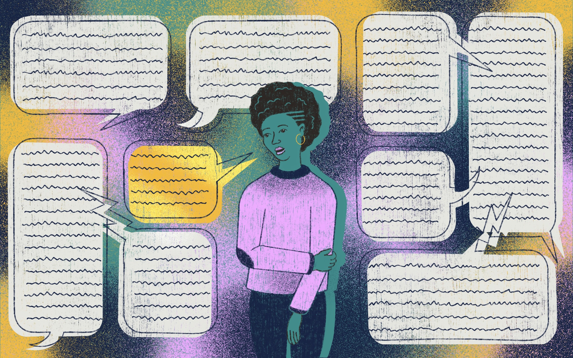 An illustration of a black person surrounded by text bubbles.