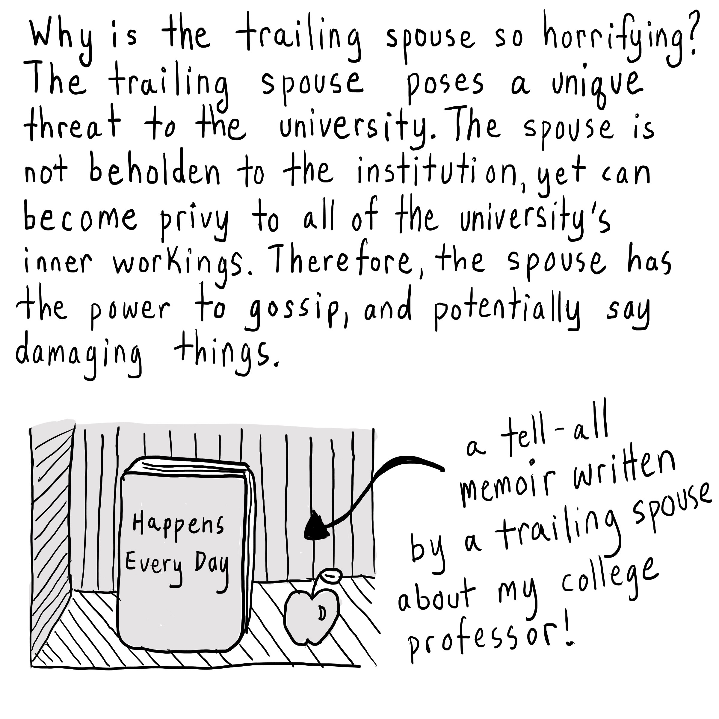 "Text: Why is the trailing spouse so horrifying? The trailing spouse poses as unique threat to the university. The spouse is not beholden to the institution, yet can become privy to all of the university's inner workings. Therefore, the spouse has the power to gossip and potentially say damaging things. [Book titled ""Happens Every Day""—labeled ""A tell-all memoir written by a trailing spouse about my college professor!"""