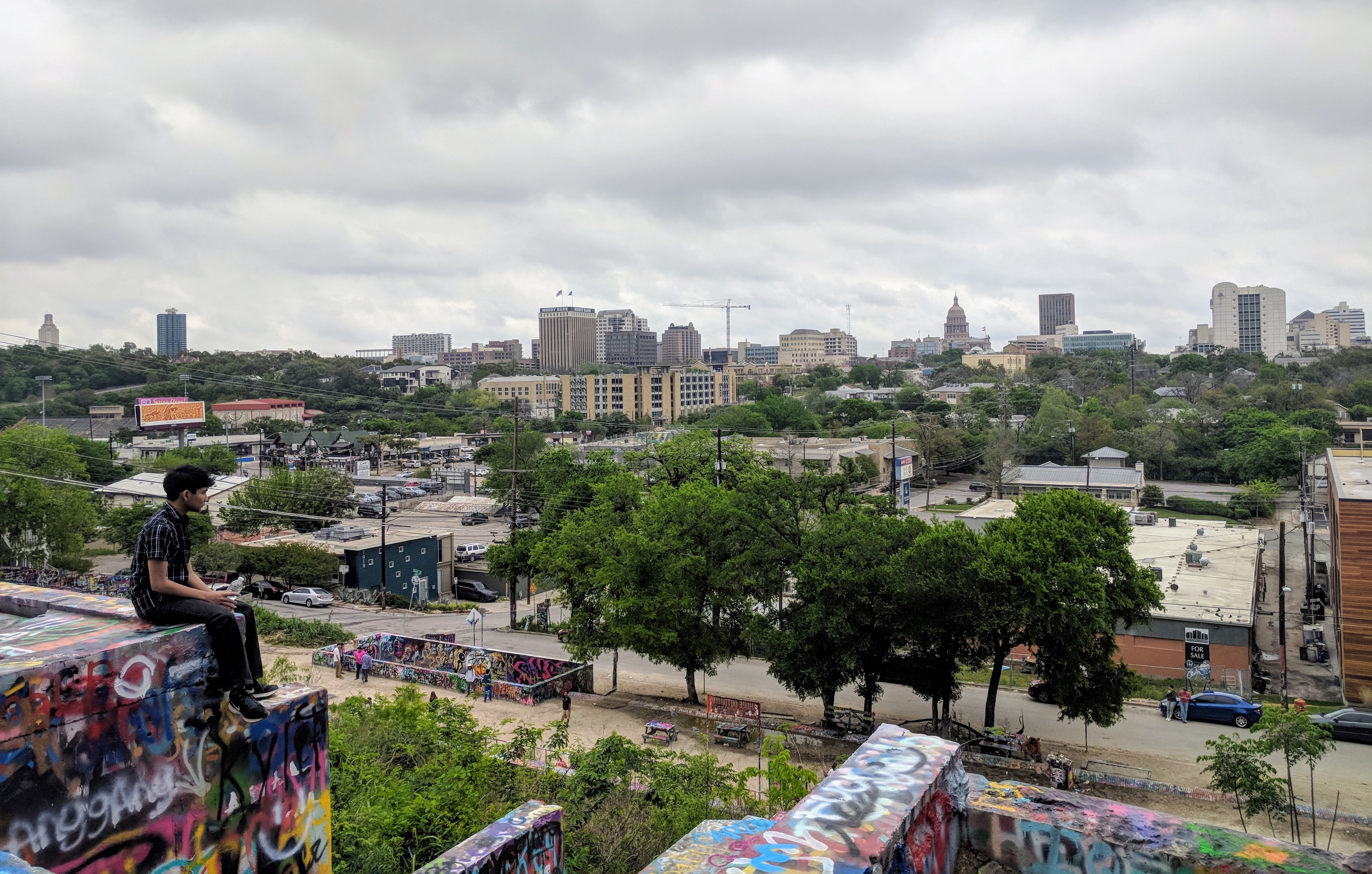 View from Hope Outdoor Gallery in Austin, TX.