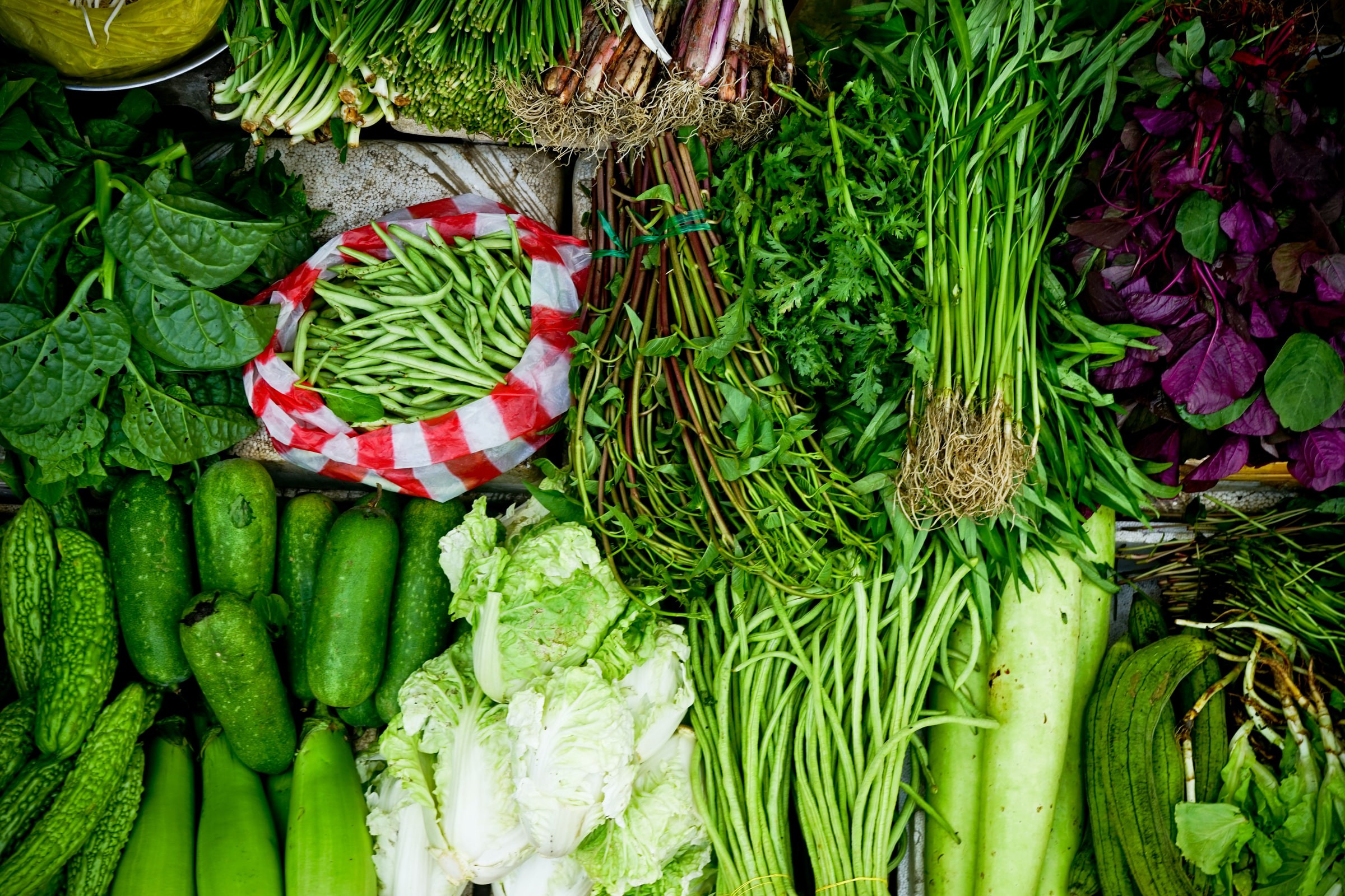 display of green leafy veggies