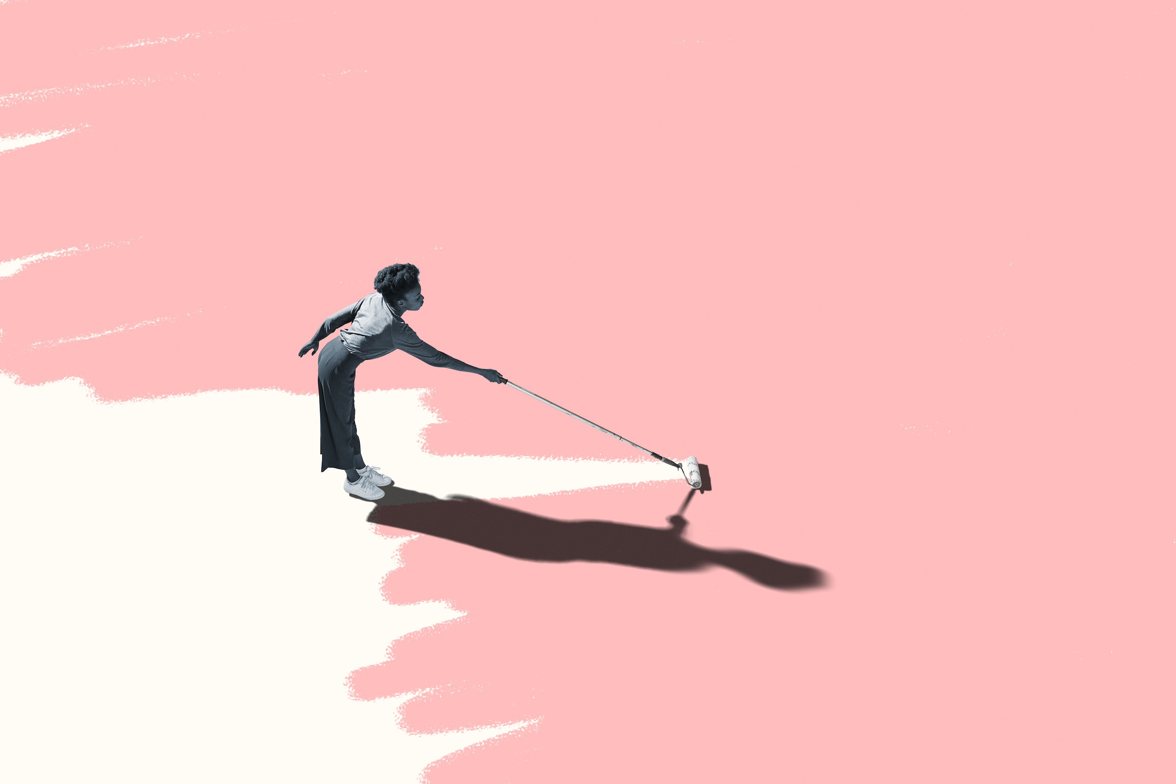 Illustration of a Black person rolling white paint onto an otherwise solid-pink floor, and casting a long, dark shadow.