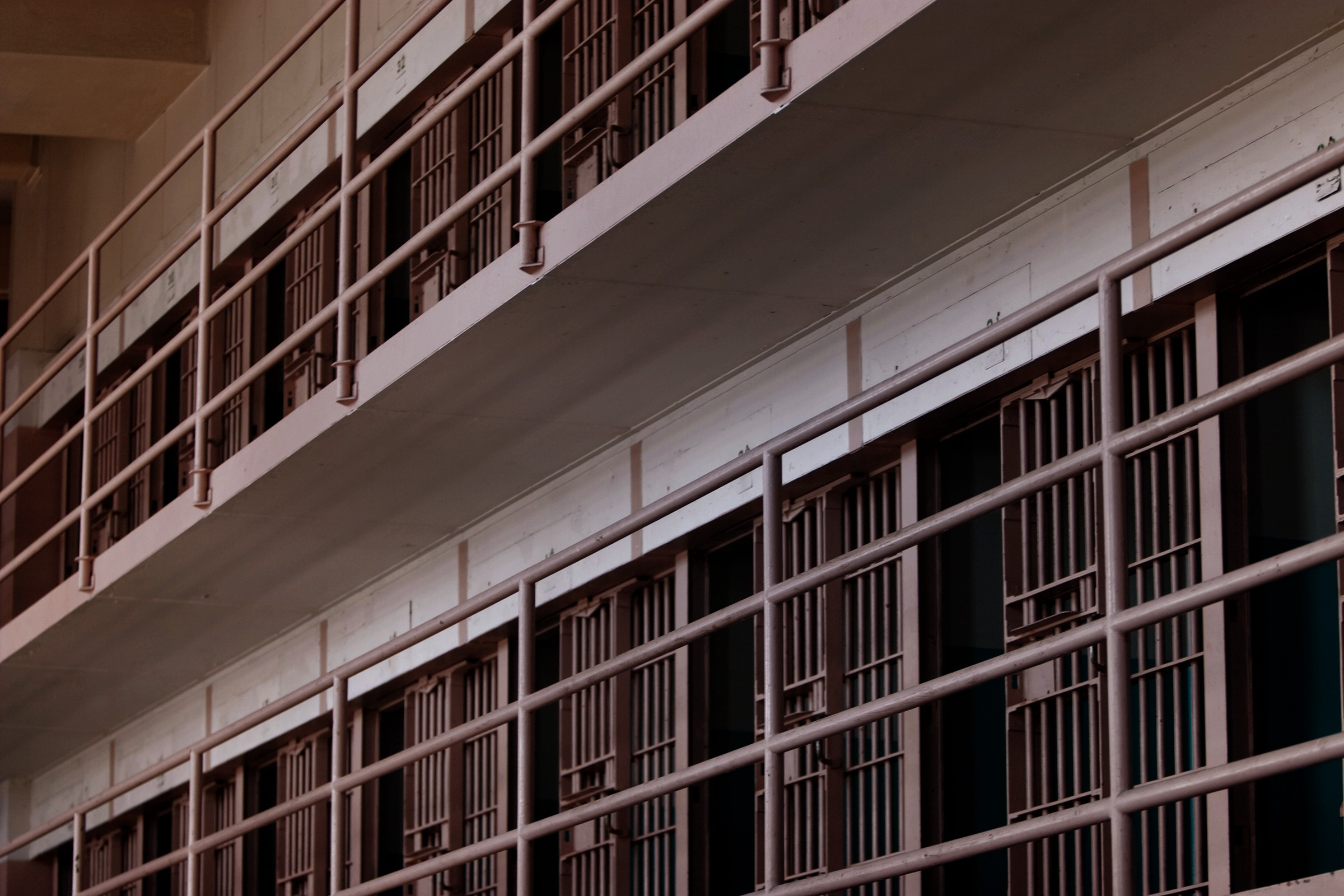 Rows of prison cells.