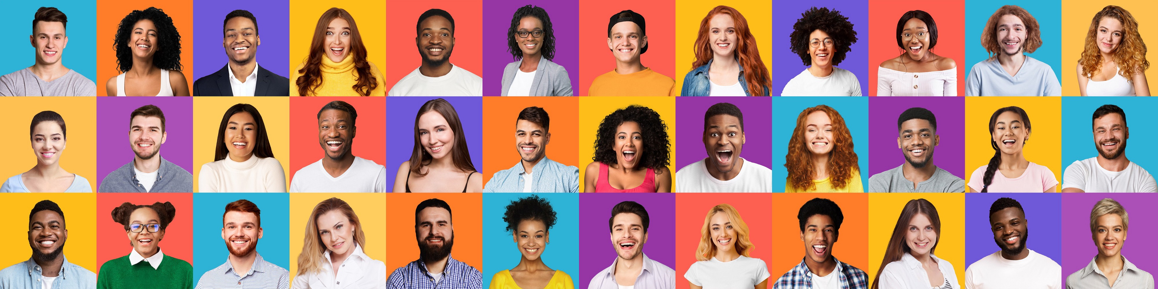 Set Of Positive People Portraits Posing Over Bright Backgrounds