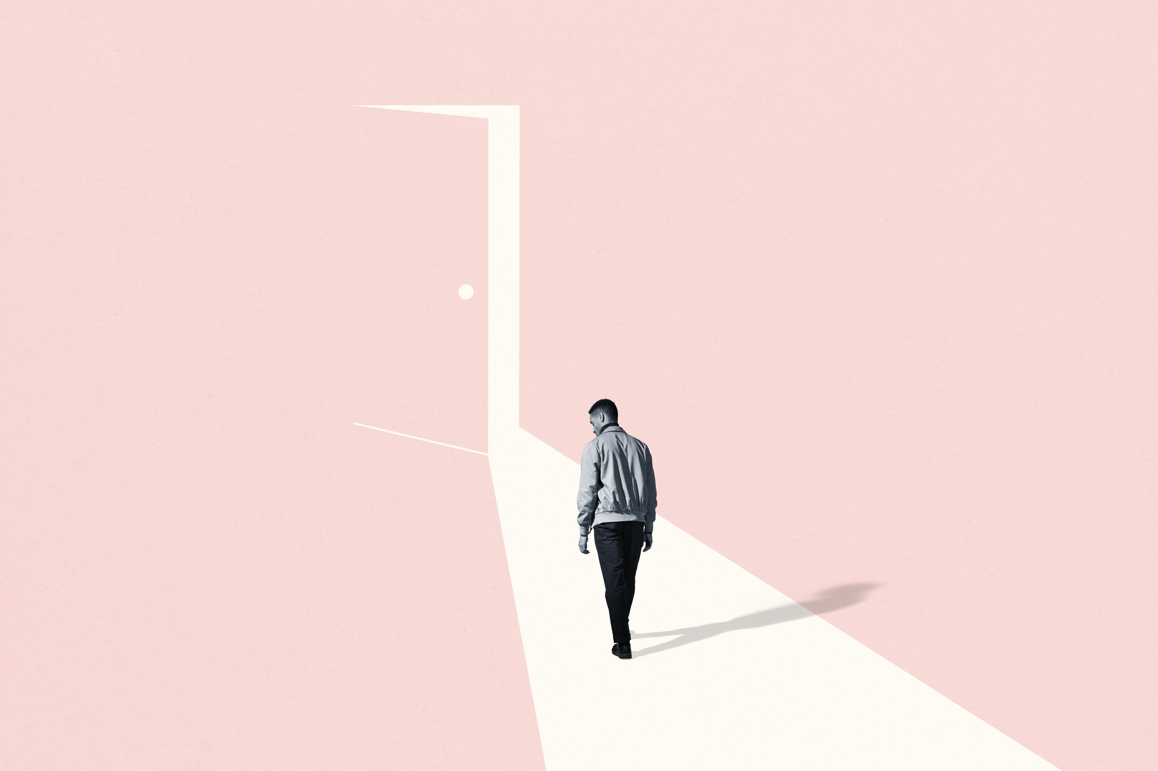 A sad black-and-white person in a flat pink room, walking to a door that's ajar and casting light towards them. Illustration.