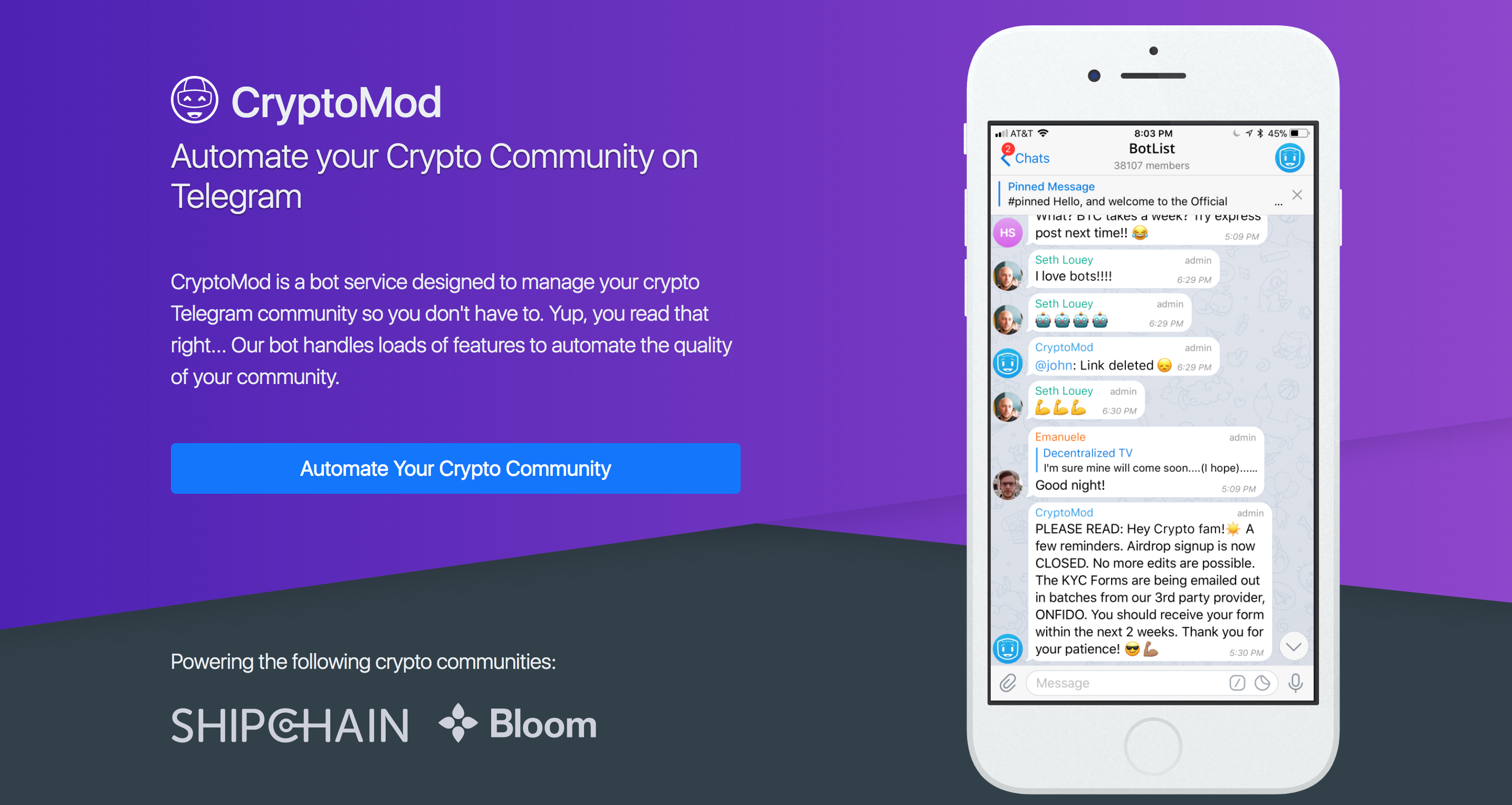 Automate Moderation for your Crypto Community on Telegram