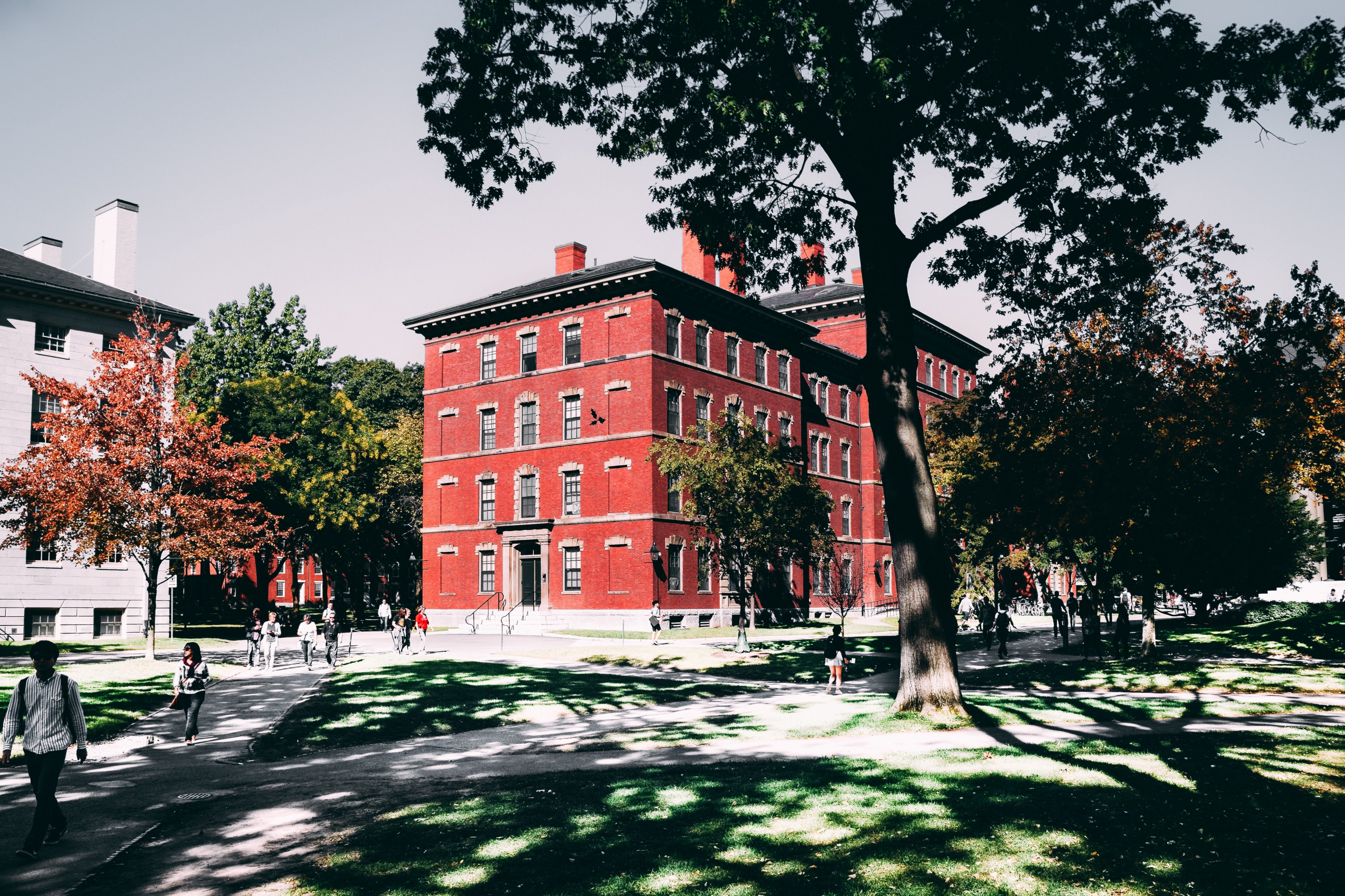Red building on a school campus—pexels