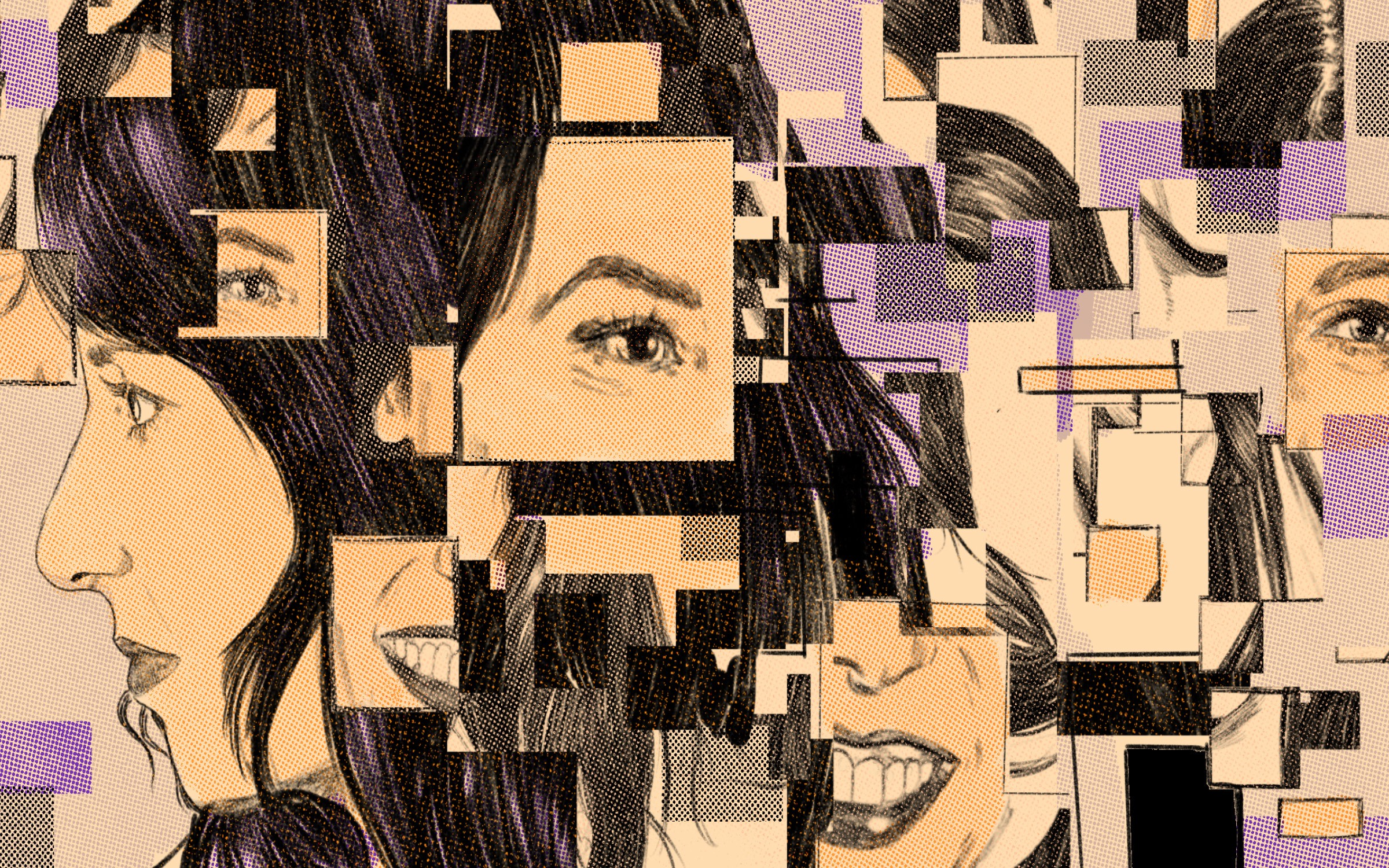 An illustrated collage of MacKenzie Bezos.
