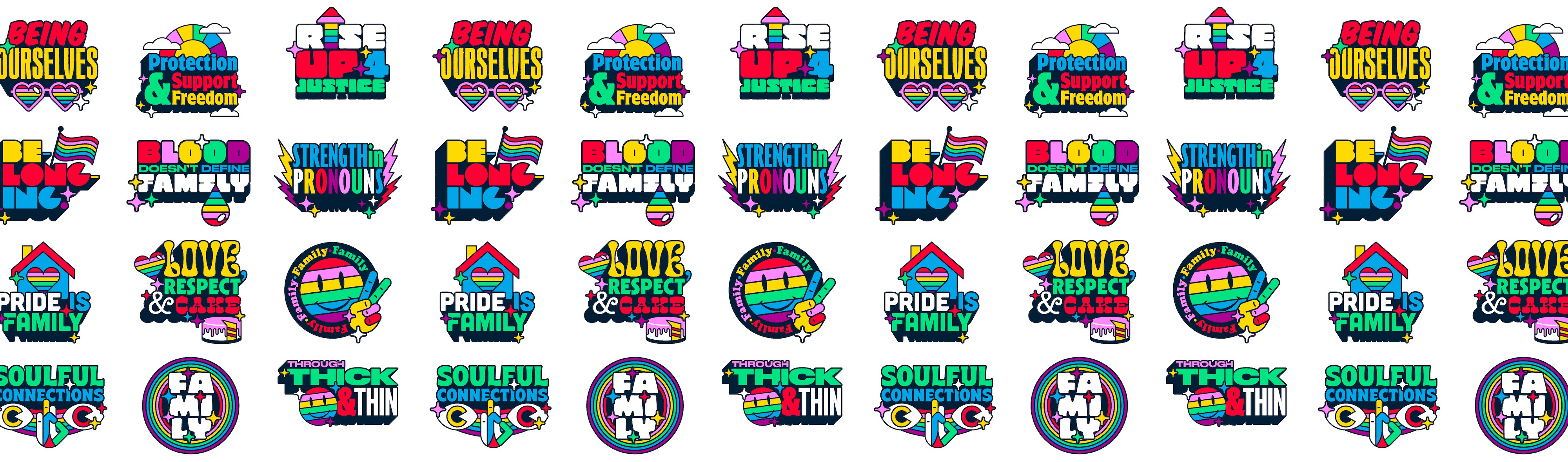 Pride family illustrated sticker pack as pattern for header image by weareinhouse.com