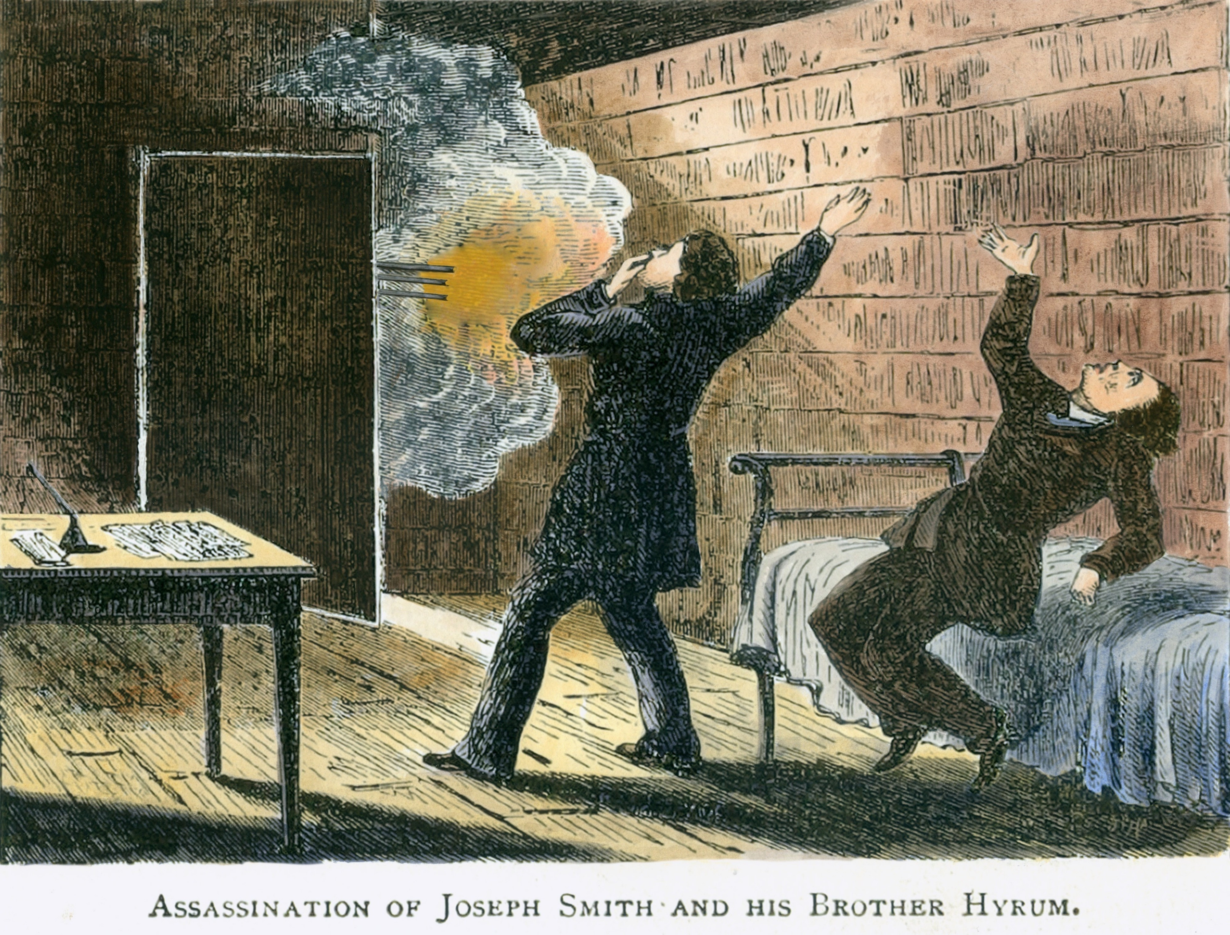 A vintage illustration of Joseph and Hyrum Smith being martyred by gunfire at Liberty Jail.