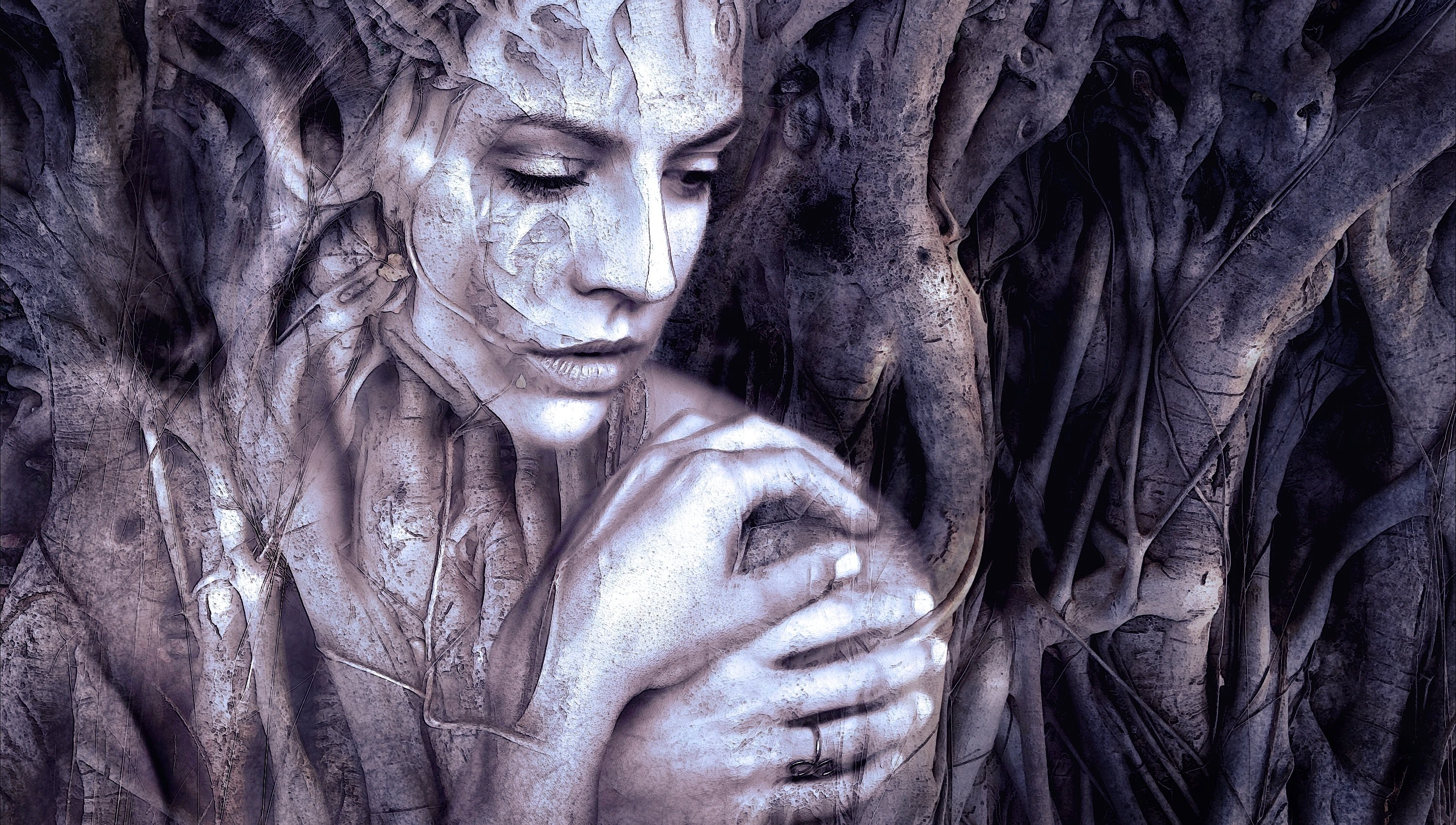 Woman merges with tree roots in art.