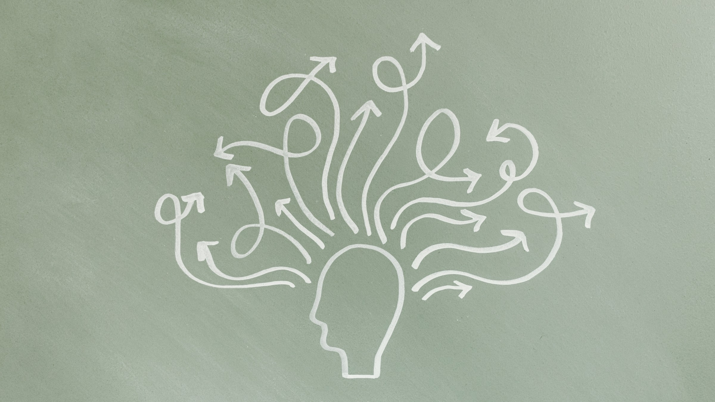 Chalk illustration of a person with swirling thoughts.