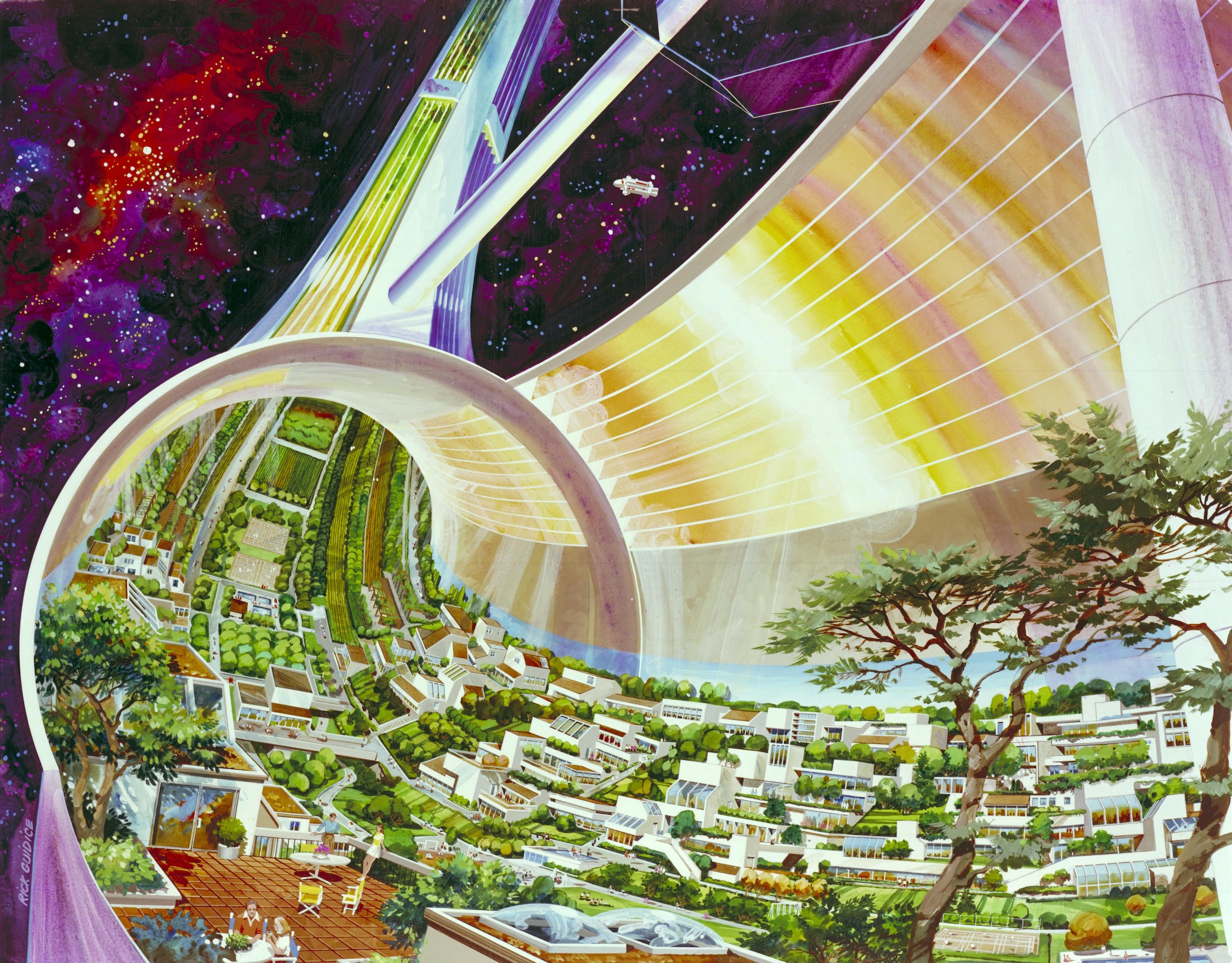 Artist's rendering of a futuristic off-planet settlement floating in space.