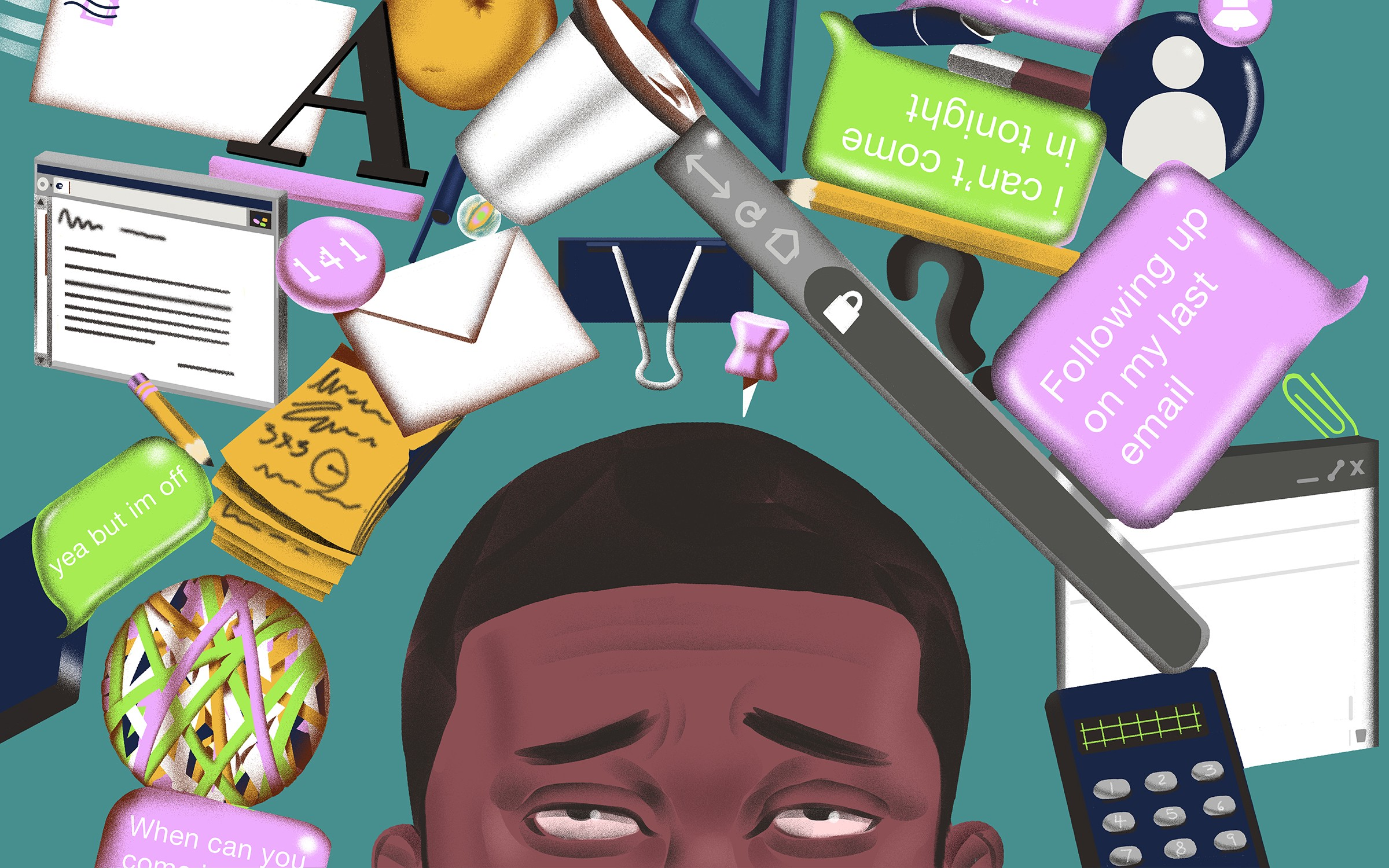 Illustration of an African American man looking up worried, as wor kreminders like emails, texts, and messages surround him.