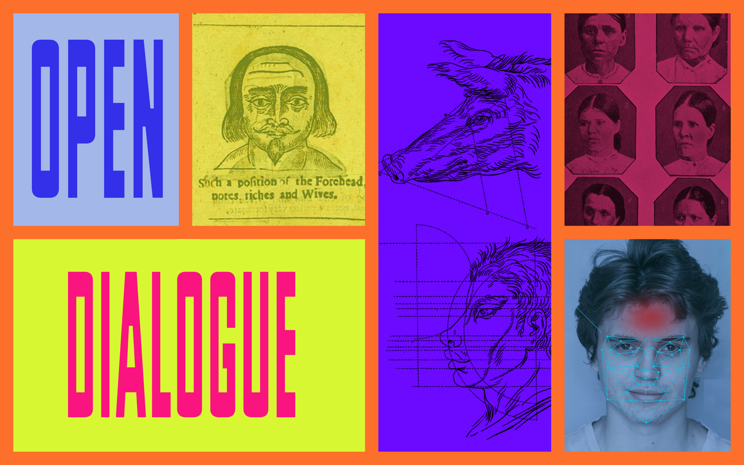 "The graphic text ""Open Dialogue"" is framed around different sketches of human faces and emotions."