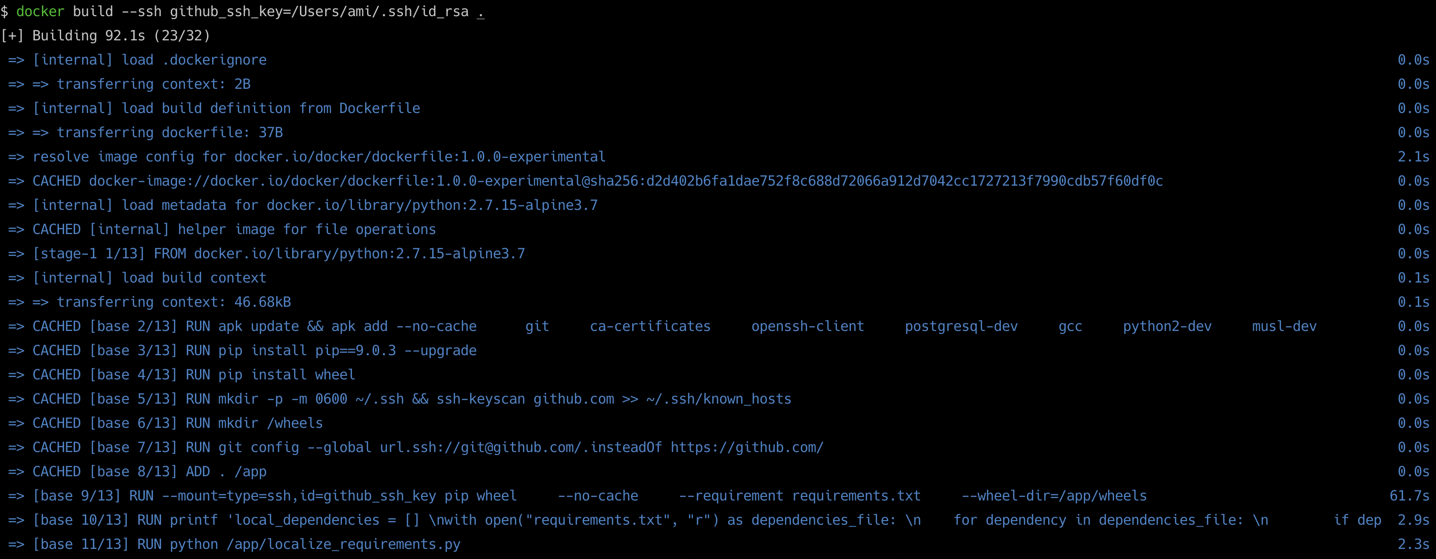 Securely build small python docker image from private git repos