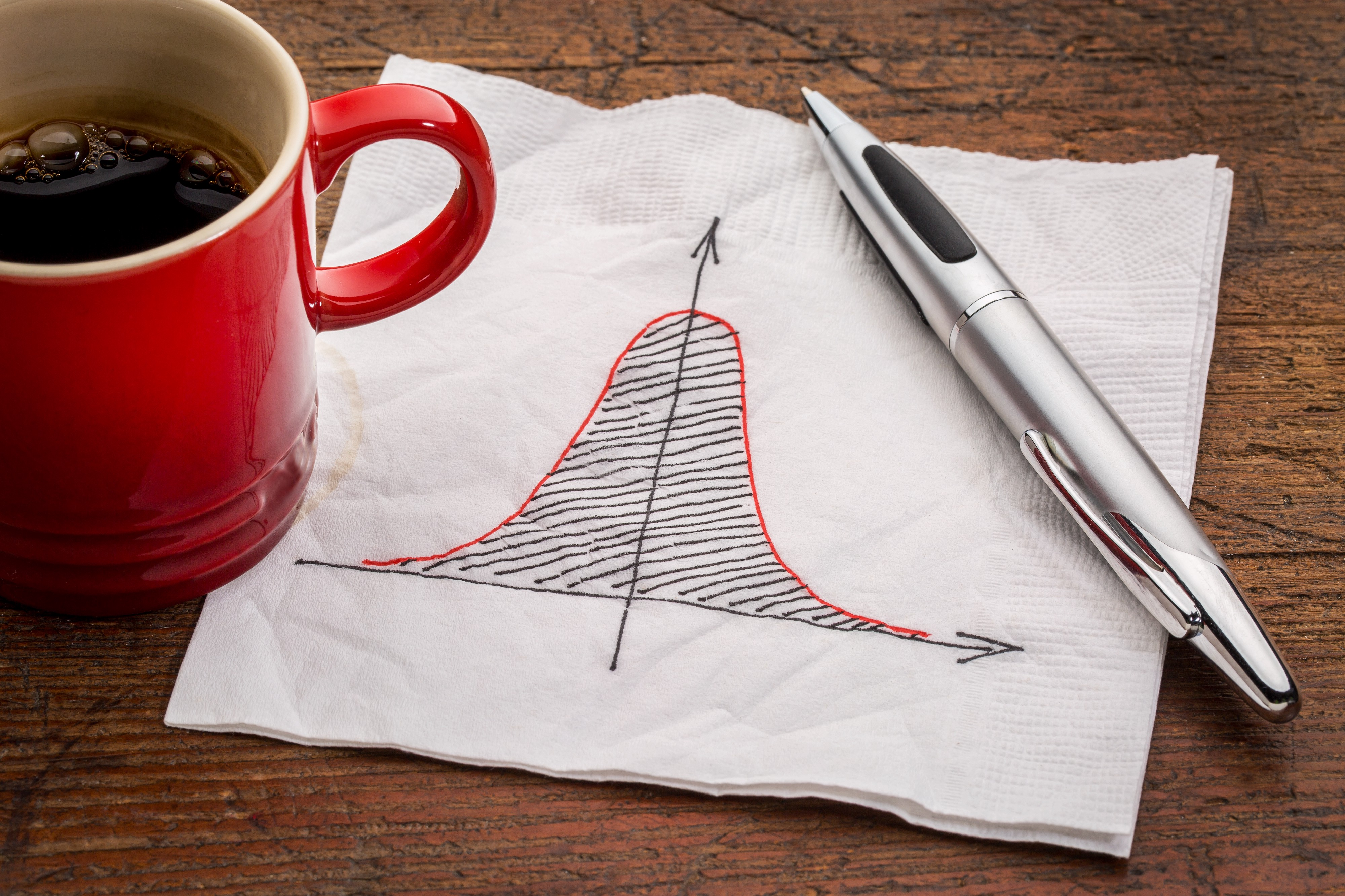 Close up of a napkin with a hand-drawn bell curve.