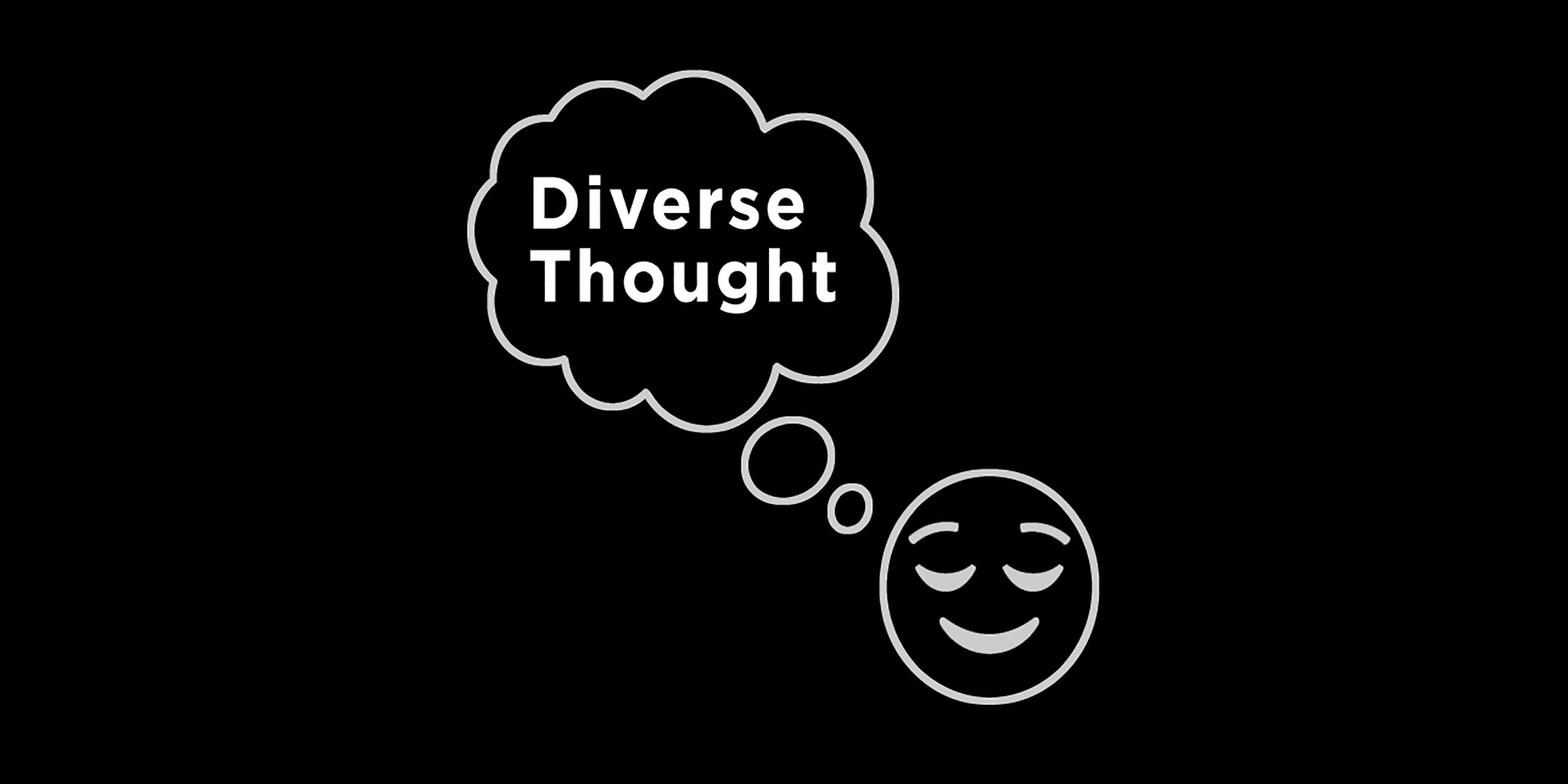 Graphic of a smiley face thinking about 'Diverse Thought' for Renee Ure's article on the value of 'Diversity of Thought' in business.