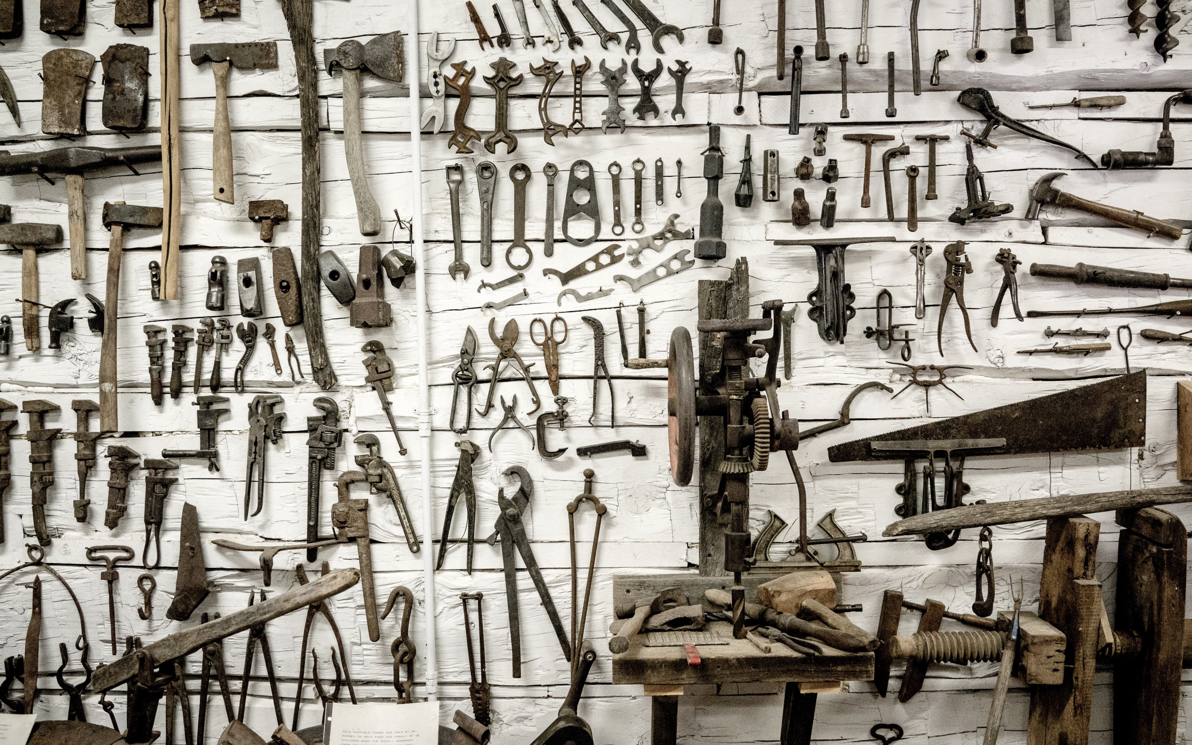 Tools hung on a wall