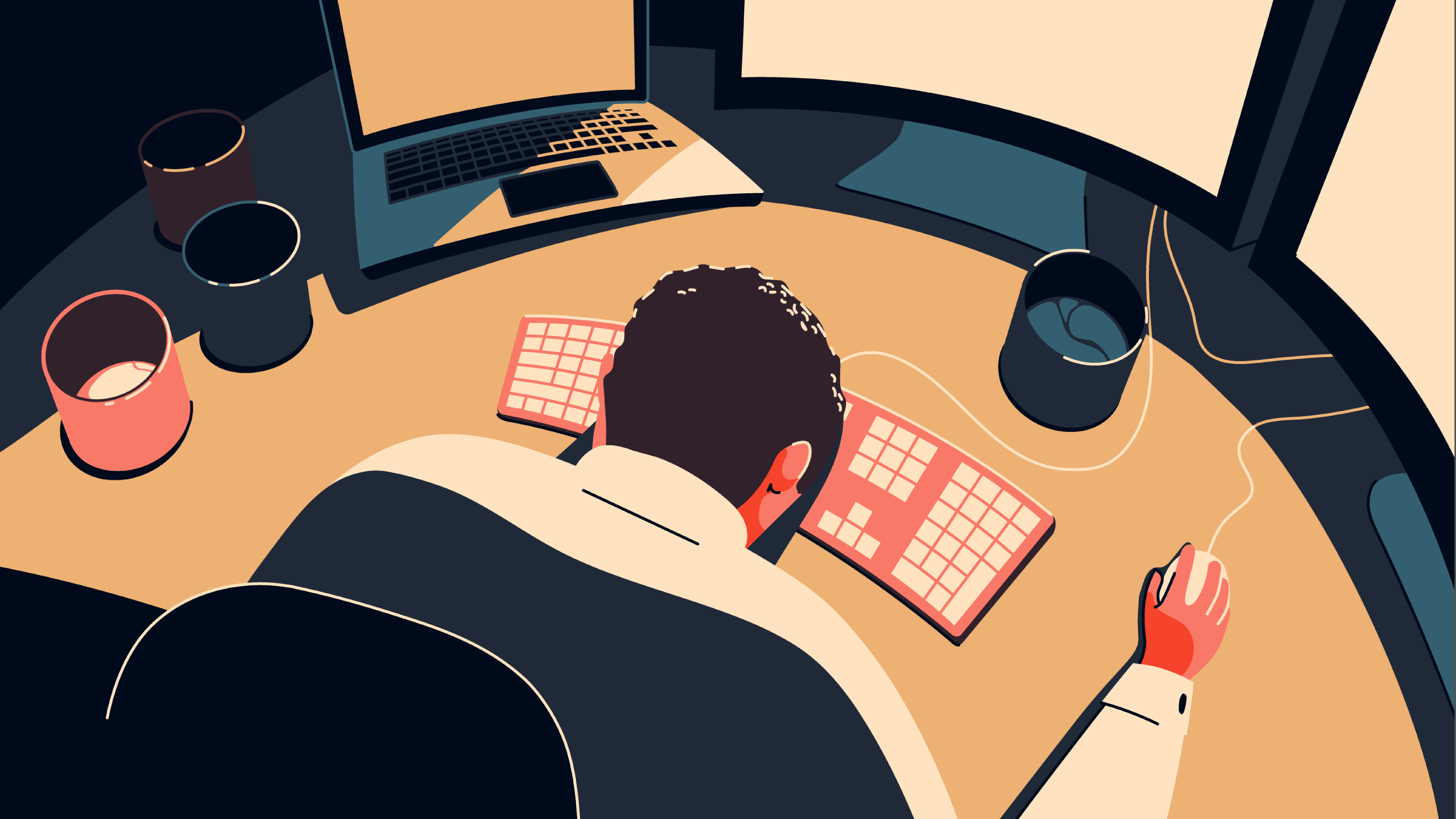 Man sits with his face down on the keyboard at his desk, hand holding the computer mouse, exhausted.