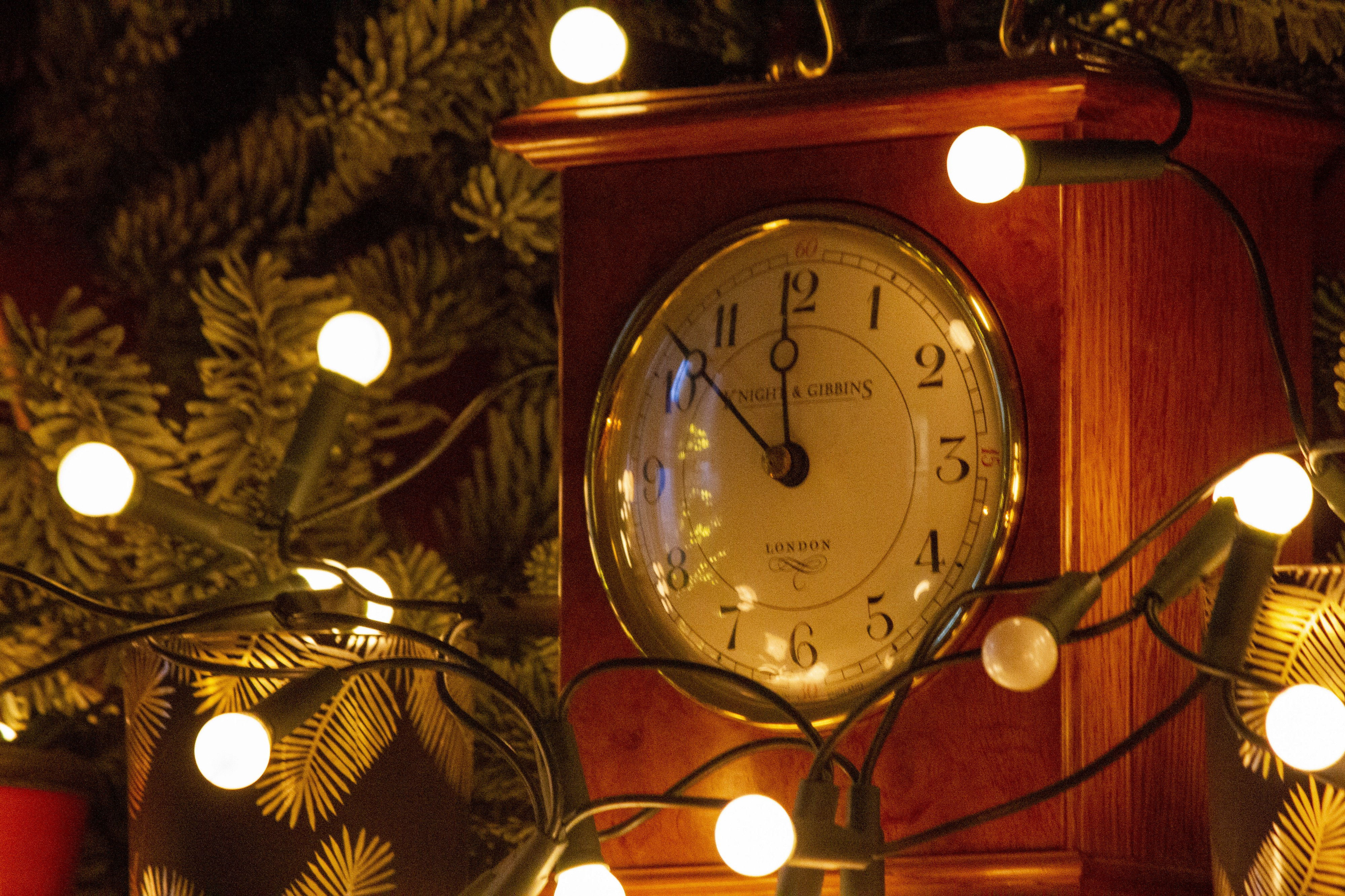 Christmasy clock set at ten to midnight