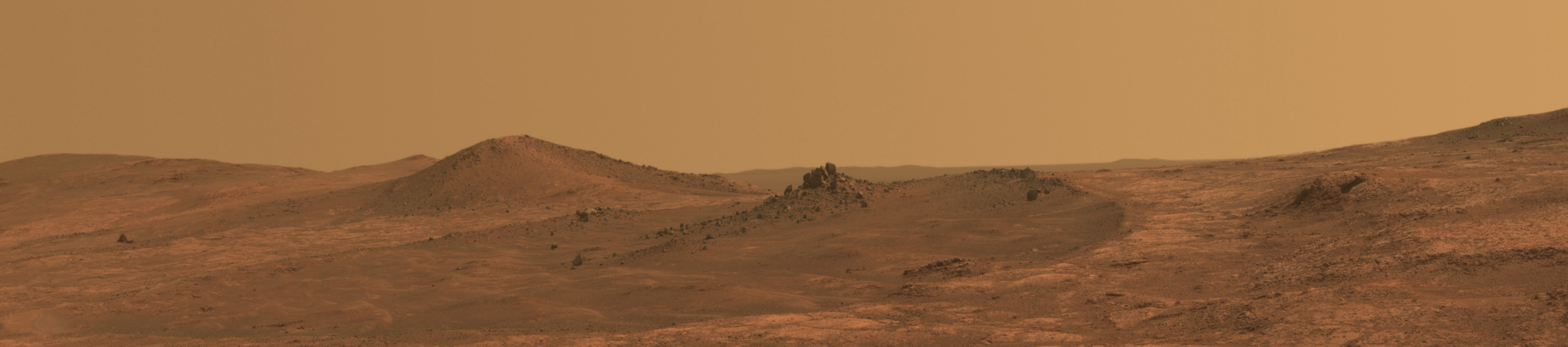 A Martian landscape captured by the Opportunity Rover.