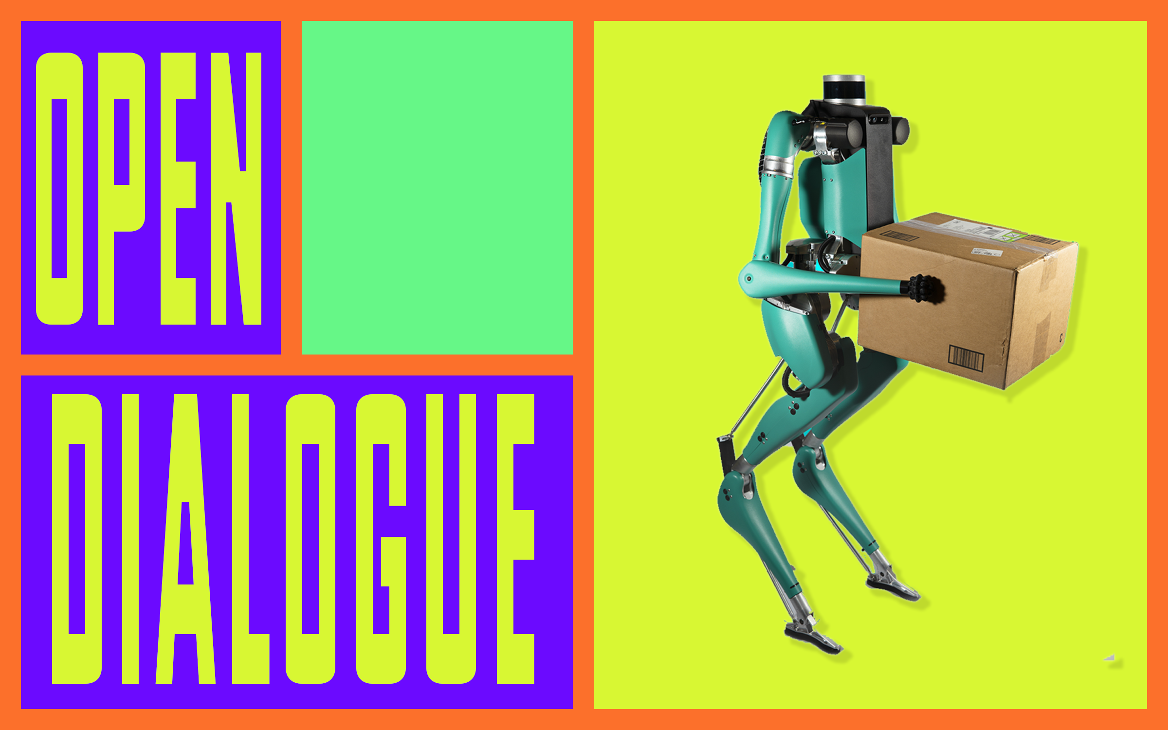 "The text ""Open Dialogue"" as a graphic next to a photoshopped image of a standing biped robot holding a cardboard box."
