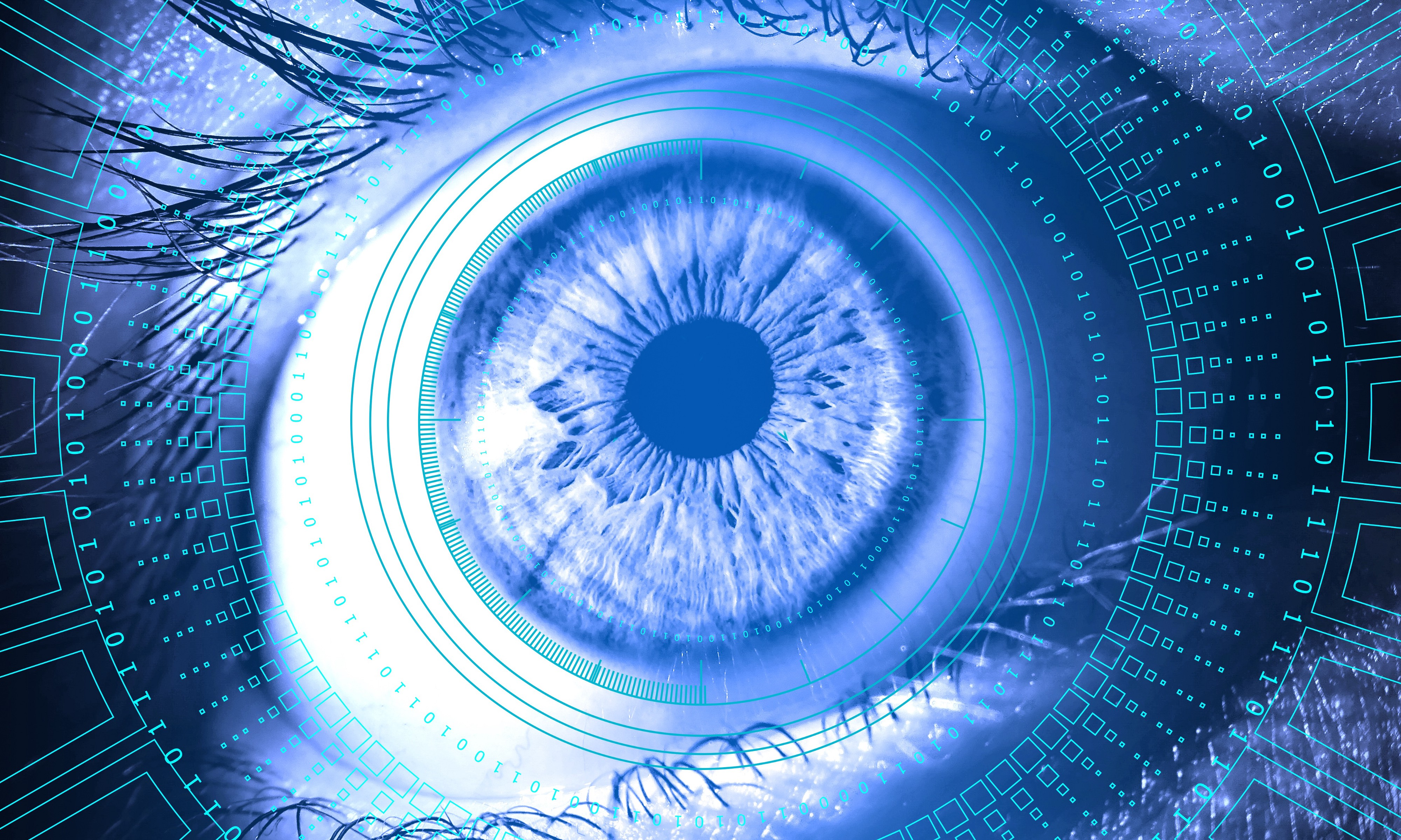 A closeup of a human eye in blue and white styled photography, with a digital contact lens display around it.