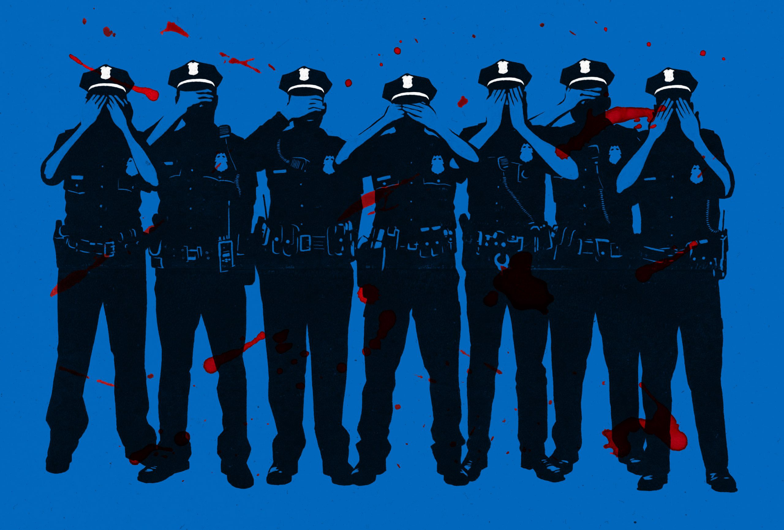 Seven police officers with a blue background. They are covering their eyes. There are red splatters behind them