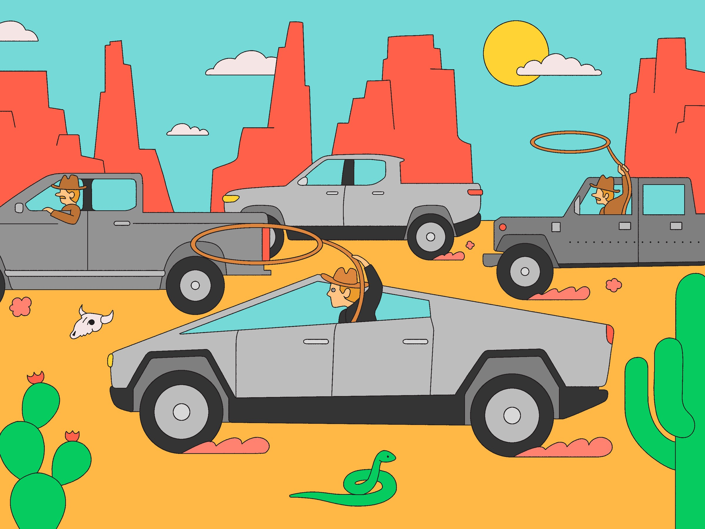 An illustration of cowboy characters with lassos driving Tesla Cybertrucks.