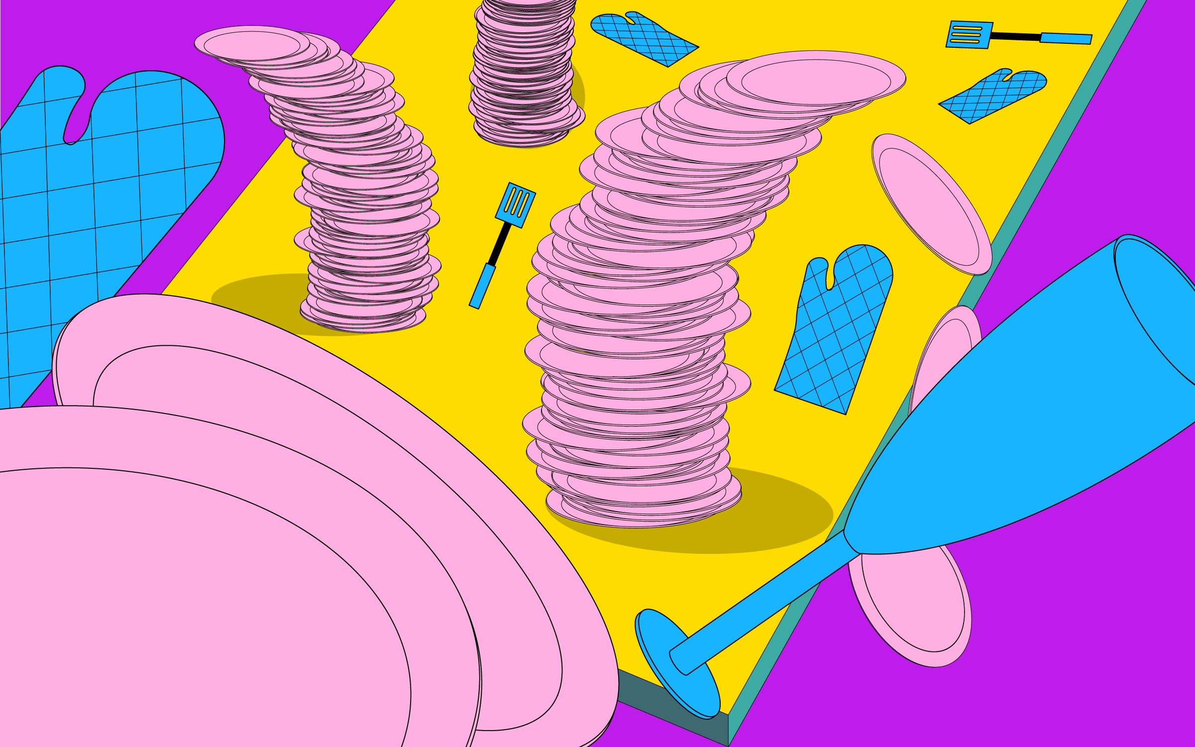 An illustration of wine glasses, spatulas, oven mitts, and several stacks of plates all falling over.