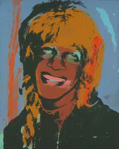 A stylized painting of Marsha P. Johnson, done in the enigmatic style of Andy Warhol.