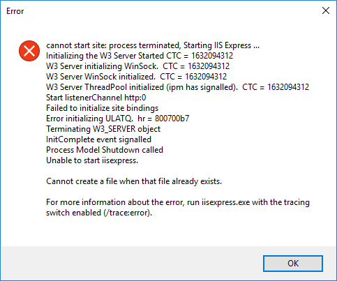 IIS Express Failed to Start for ASP NET Core Apps Edge Case
