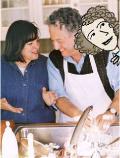 Illustrated photo of Ina, Jeffrey (doing the dishes) and me!