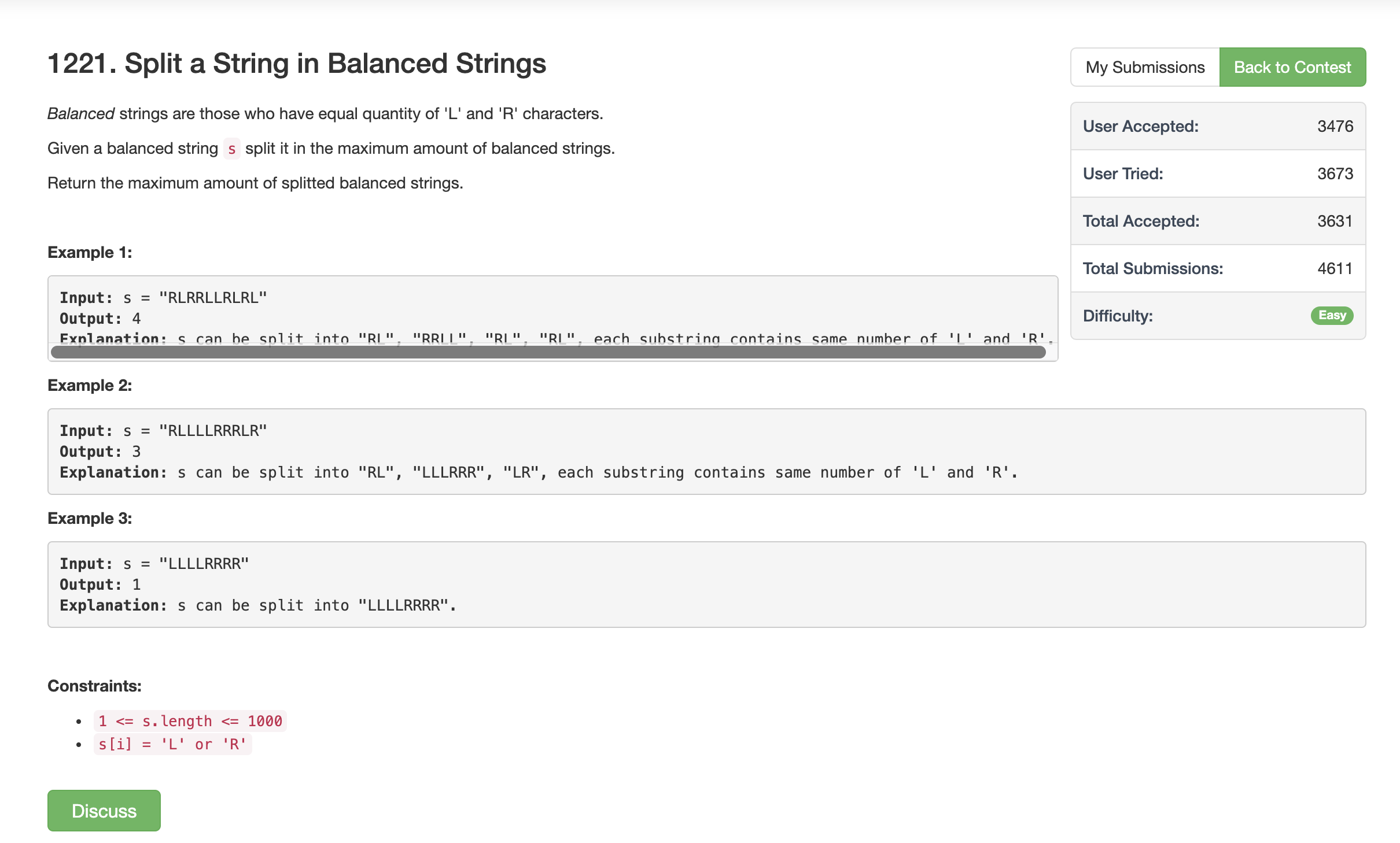 Solution To Leetcode Problem  Split A String In Balances Strings