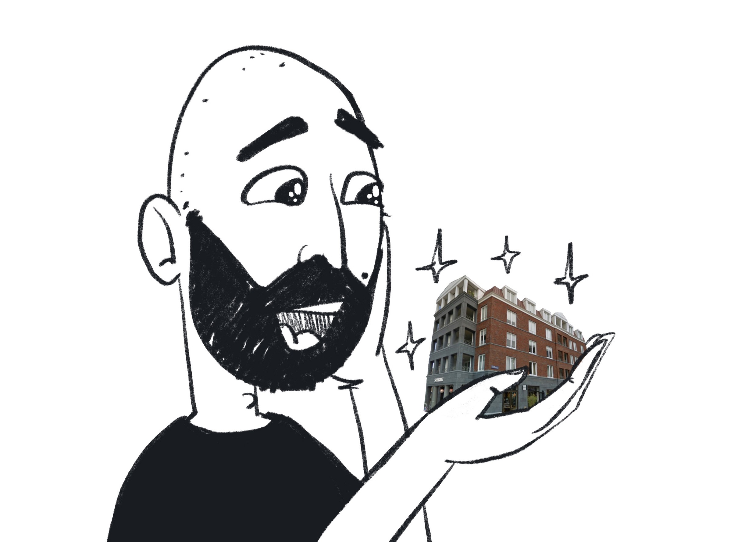Me, holding a shiny new building on my hand, with sparkles on my eyes.