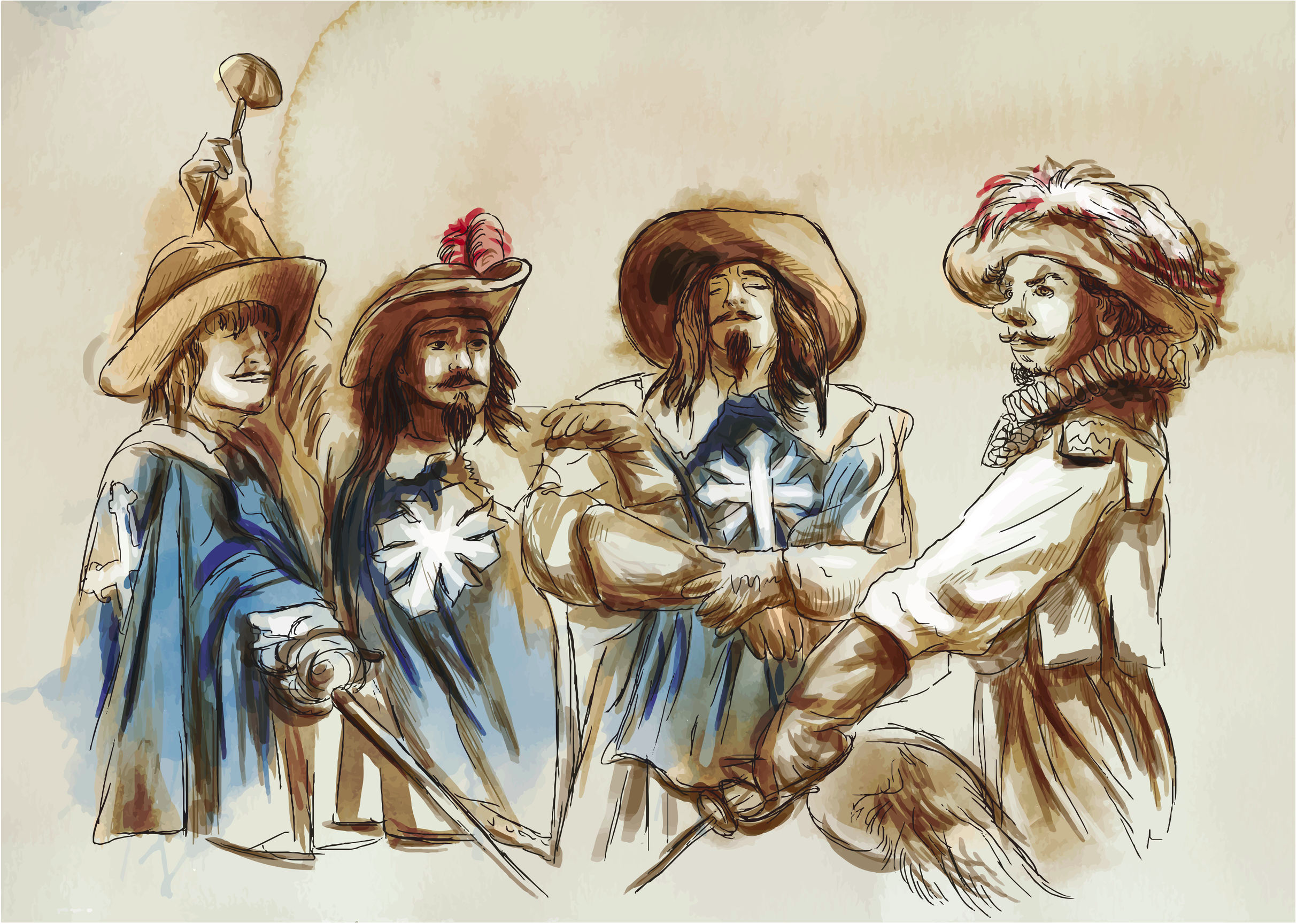 The Three Musketeers. An hand drawn illustration.
